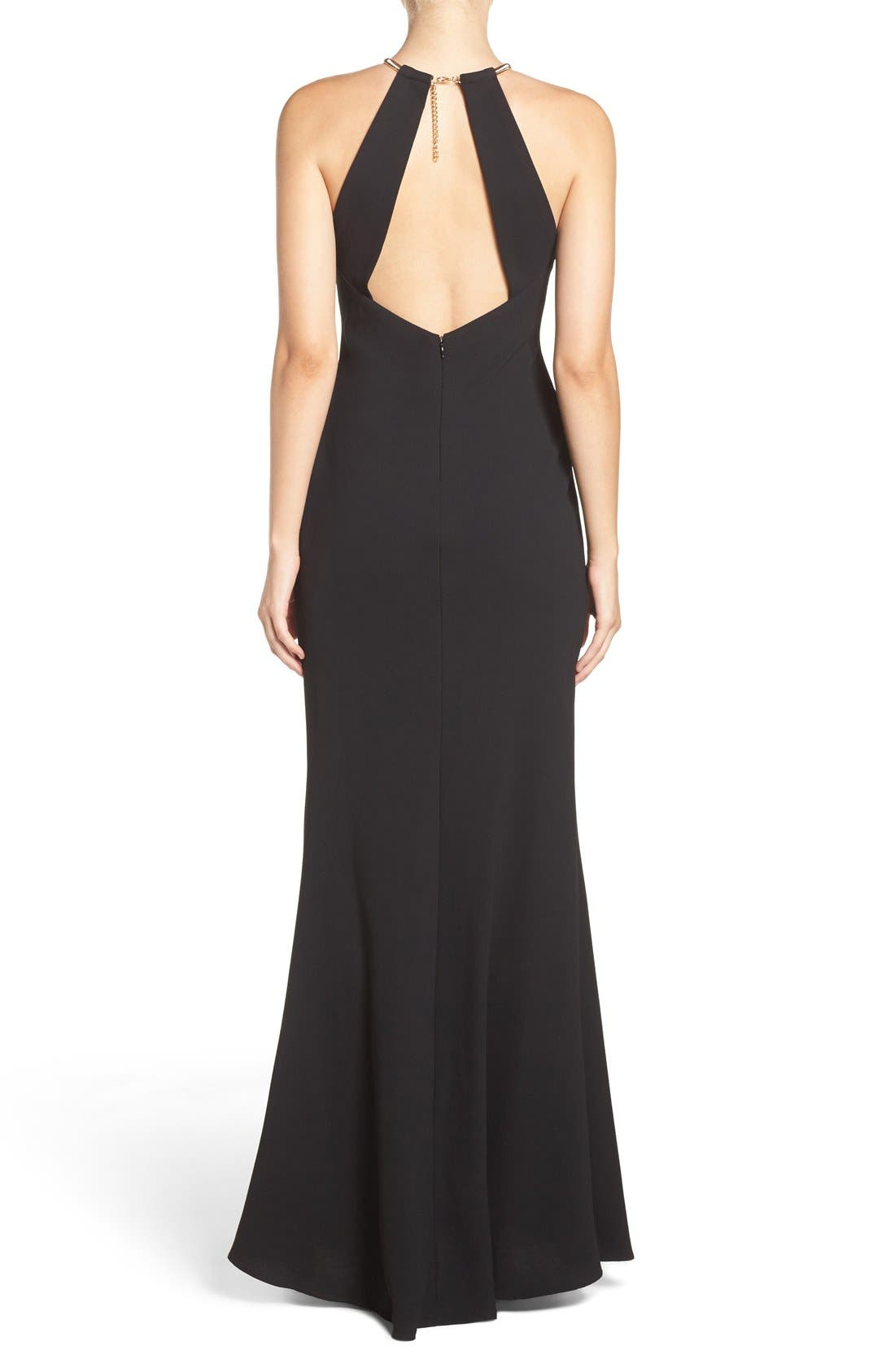 Alternate Image 2  - Xscape Chain Neck Crepe Gown