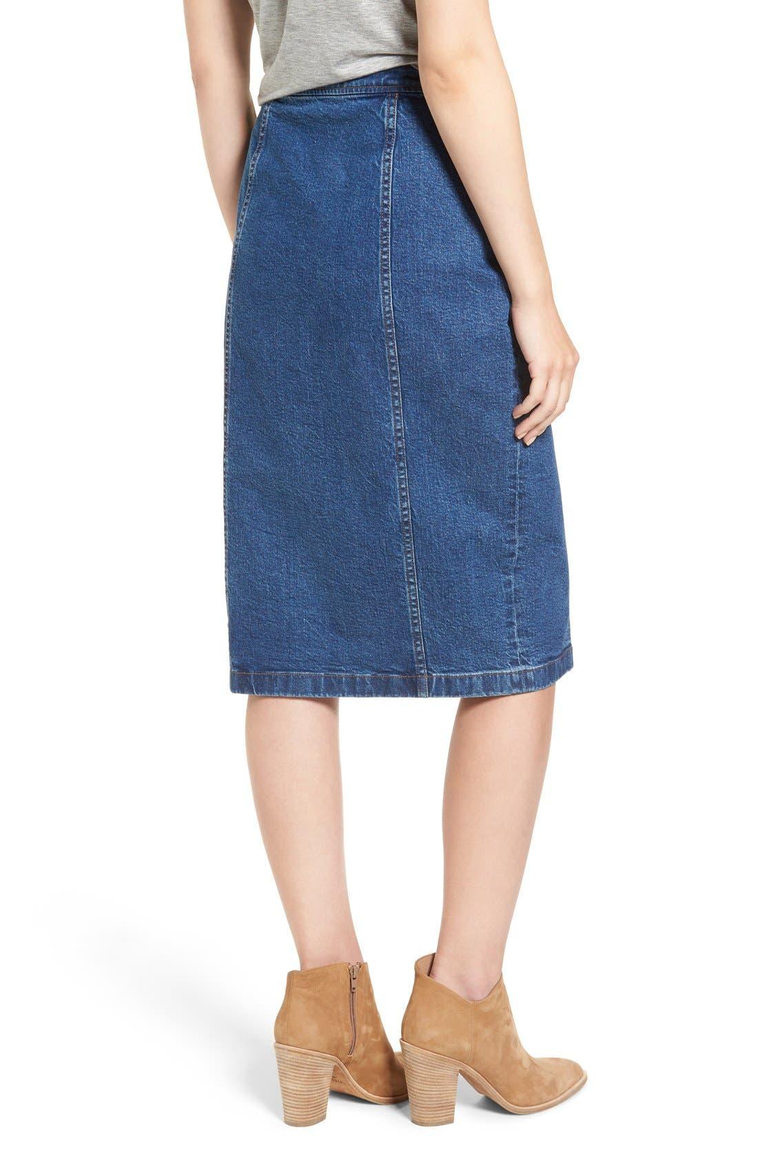 Alternate Image 2  - Madewell Denim Midi Skirt