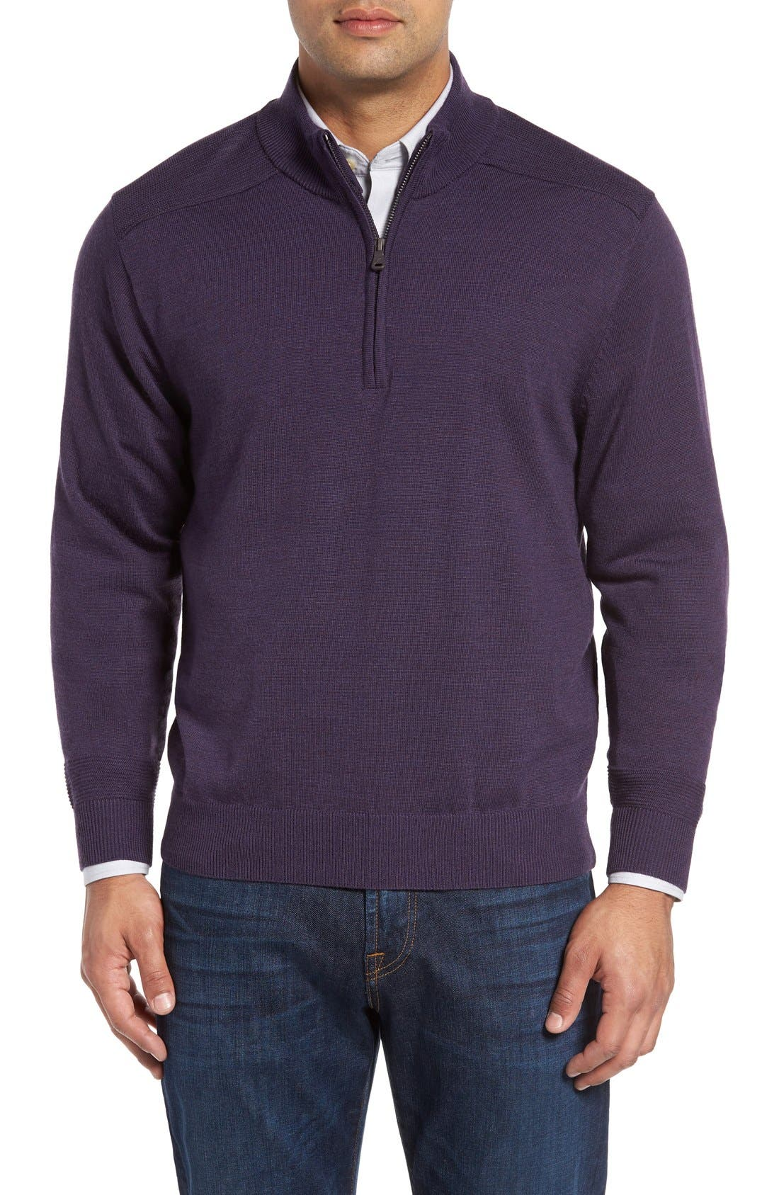 Cutter & Buck 'Douglas' Quarter Zip Wool Blend Sweater (Big & Tall)