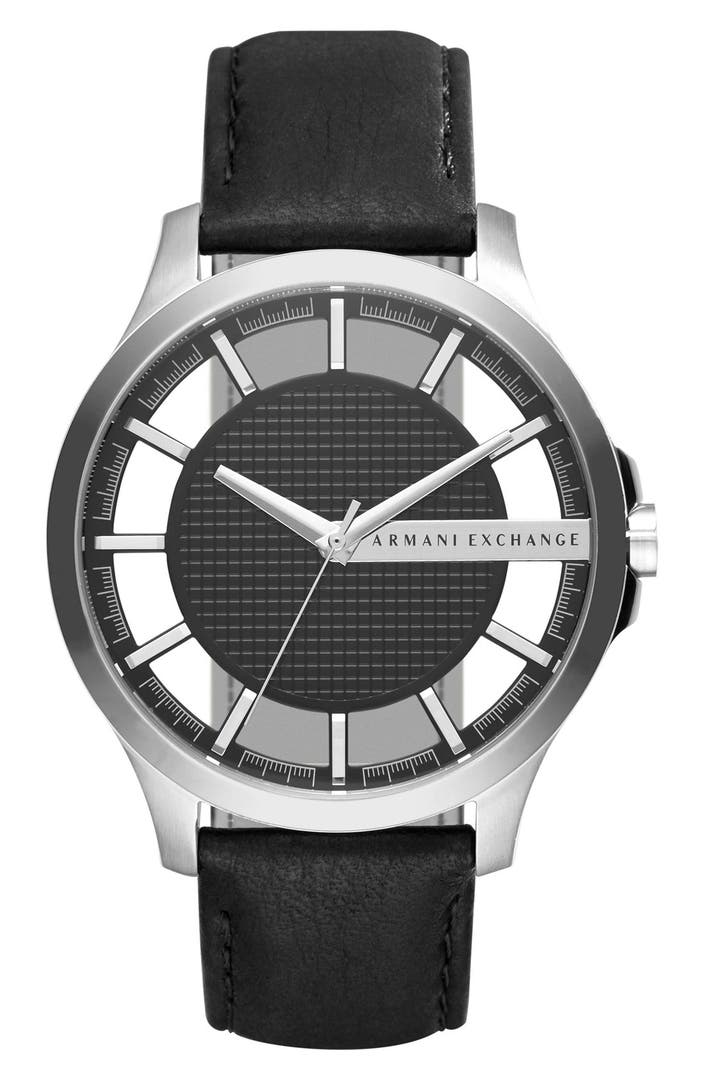 Ax armani exchange skeleton dial leather strap watch 46mm nordstrom for Armani exchange watches