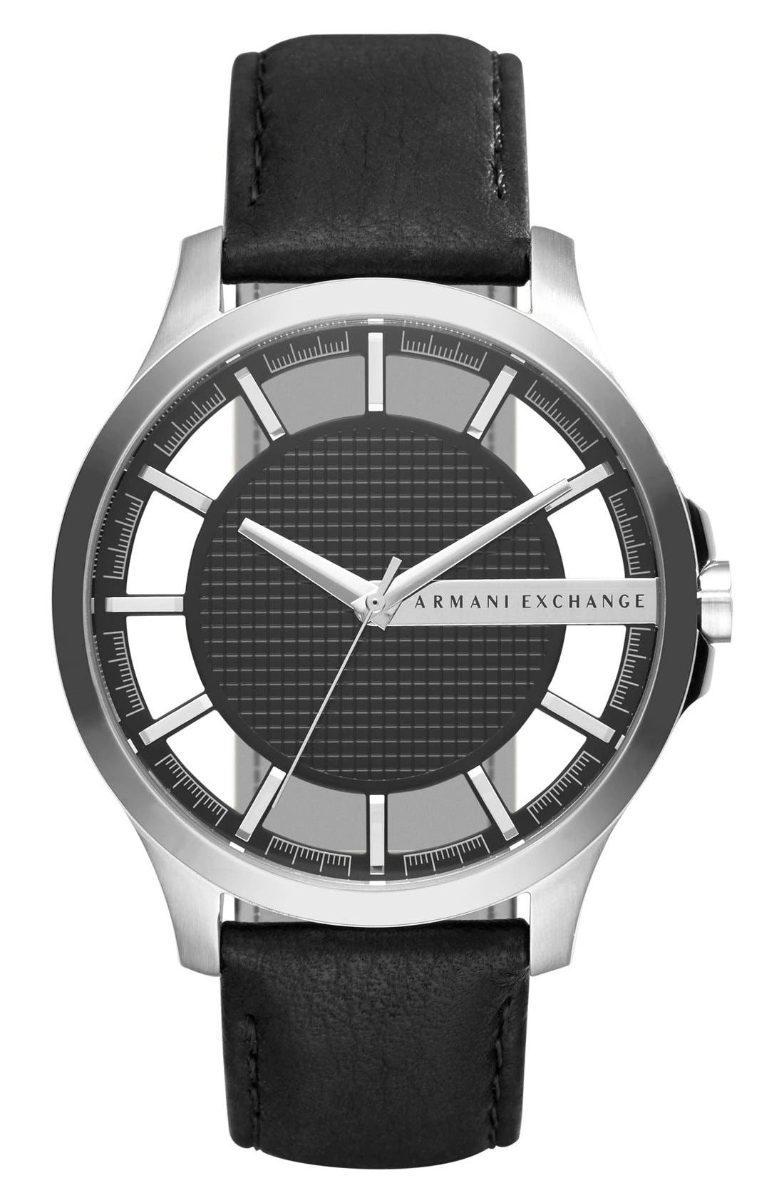 AX Armani Exchange Skeleton Dial Leather Strap Watch, 46mm