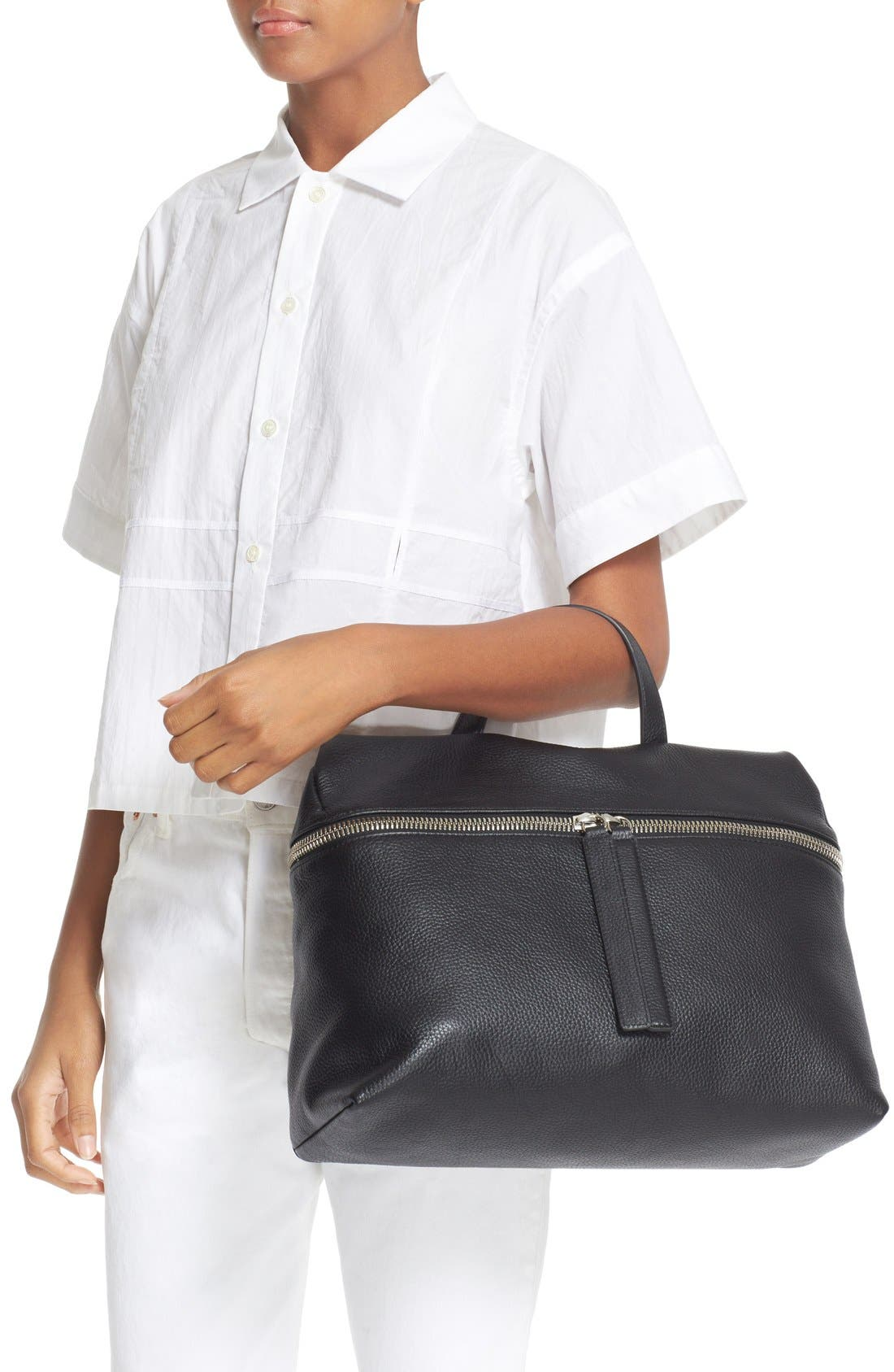 KARA Pebbled Leather Satchel