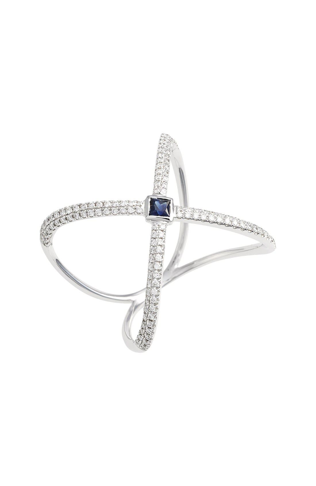 Main Image - Bony Levy Diamond & Gem Crossover Ring (Nordstrom Exclusive)