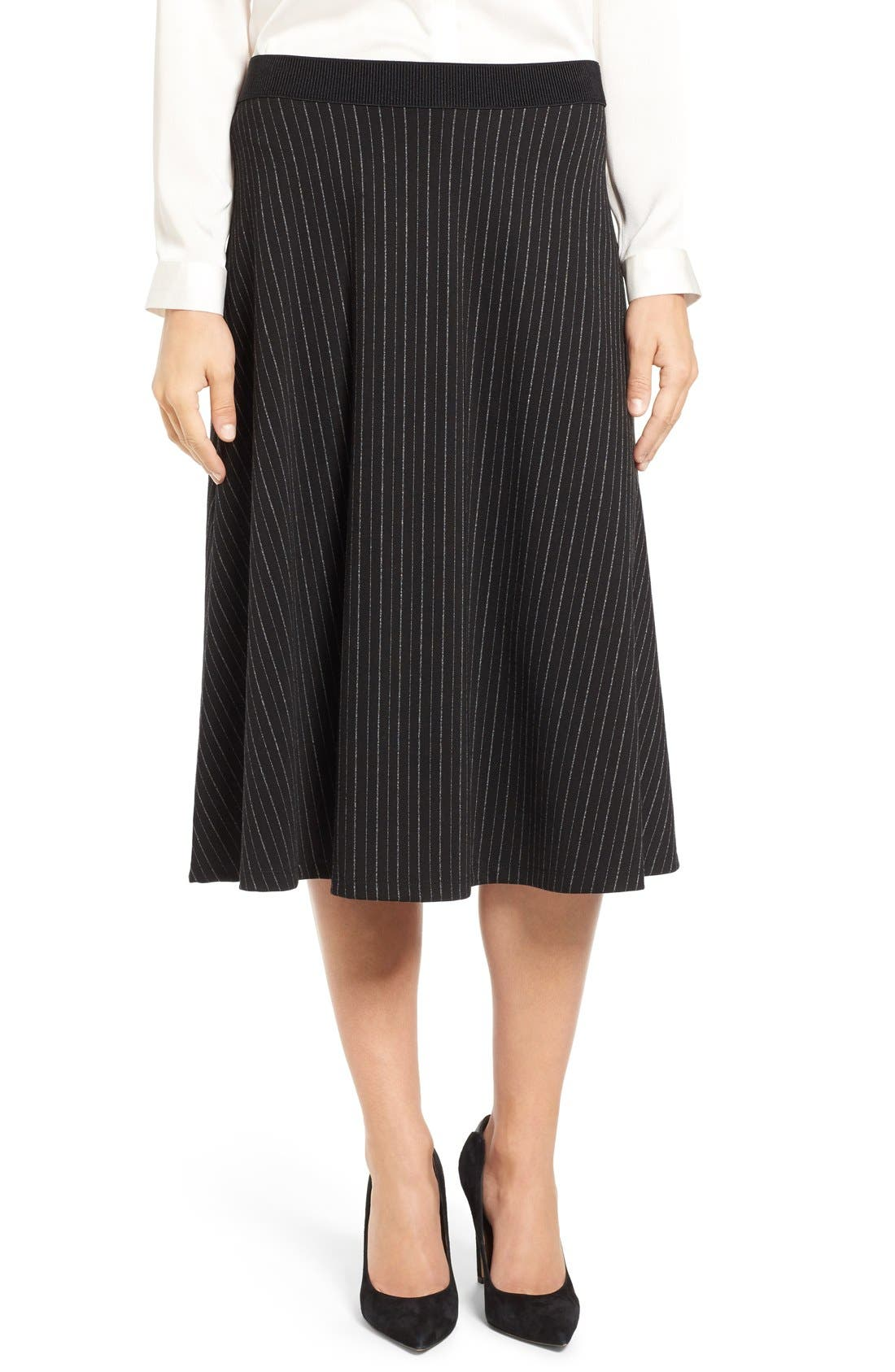 Main Image - Bobeau Pinstripe A-Line Midi Skirt