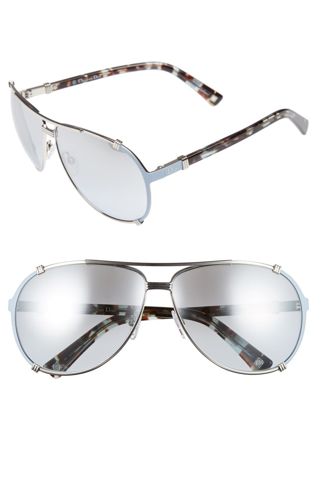 Main Image - Dior 'Chicago' 63mm Metal Aviator Sunglasses