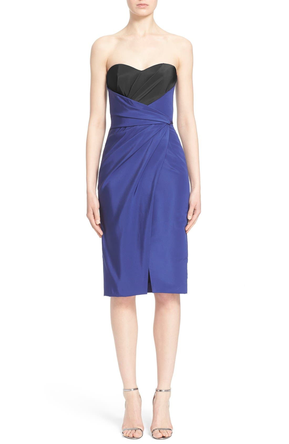 J. MENDEL Strapless Silk Sweetheart Neck Pleat Wrap