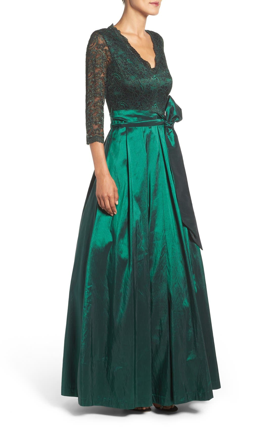 Alternate Image 3  - Eliza J Lace & Taffeta Gown
