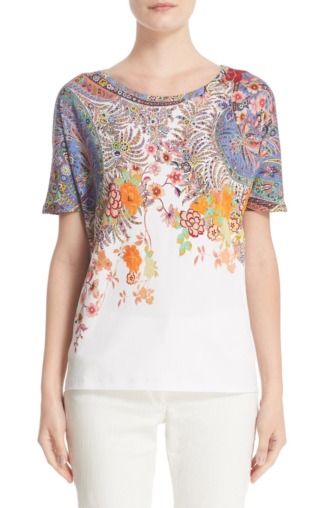 Alternate Image 1 Selected - Etro Floral & Paisley Print Cotton Tee