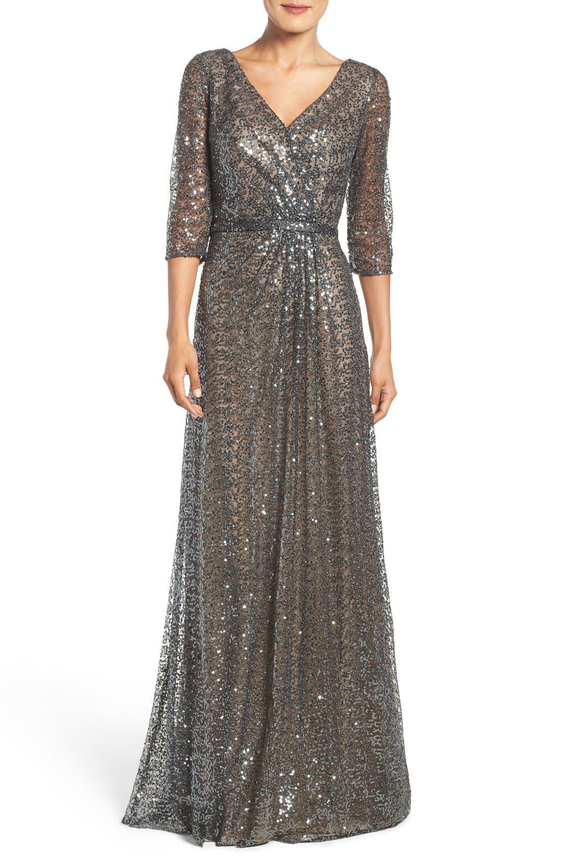 Main Image - La Femme Sequin Mesh Gown