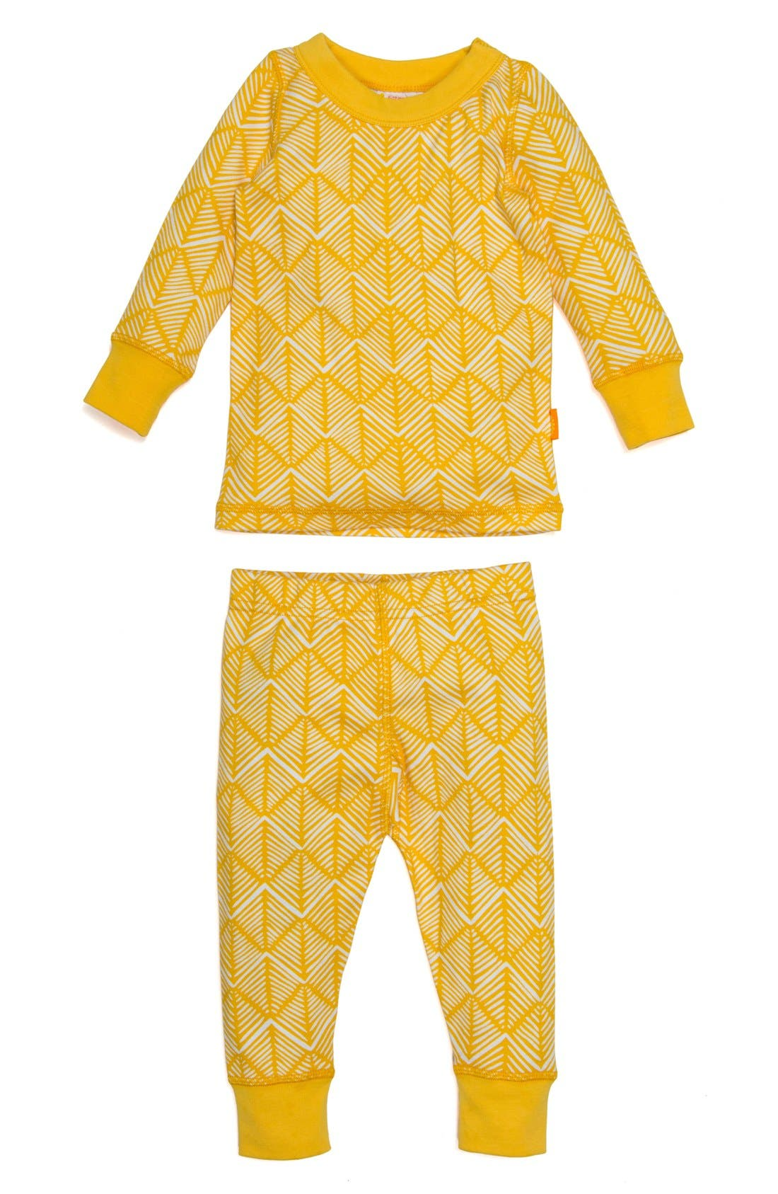 Alternate Image 1 Selected - Masalababy Diamond Hatch Fitted Two-Piece Pajamas (Toddler, Little Kids & Big Kids)