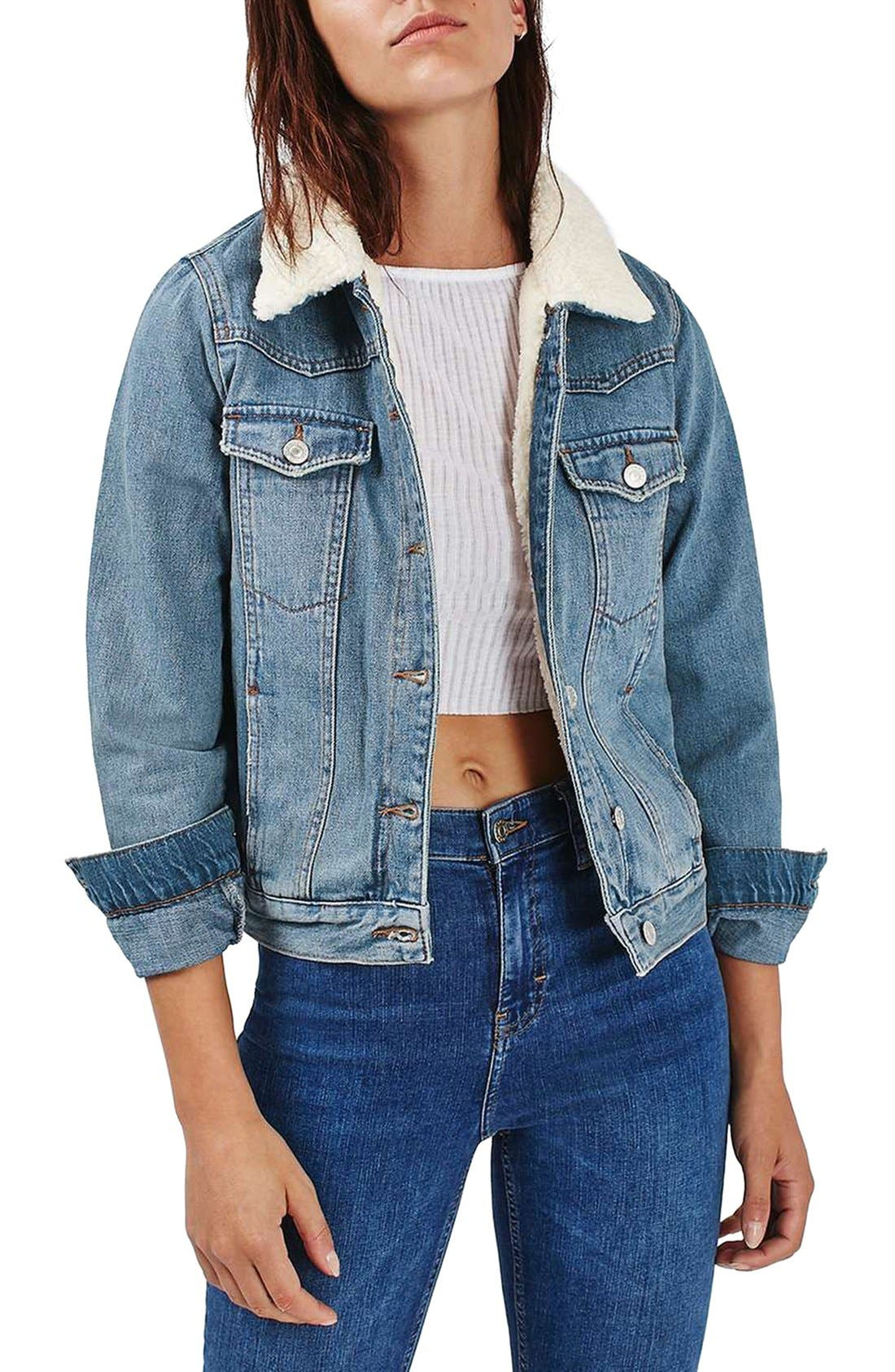 Main Image - Topshop Denim Jacket with Faux Shearling Lining