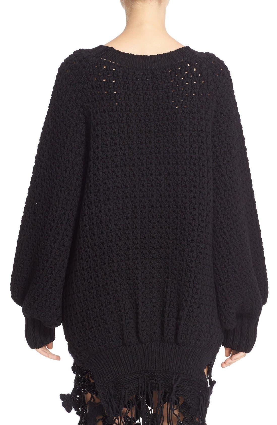 Alternate Image 2  - Simone Rocha Long Chunky Knit Wool Sweater with Fringe