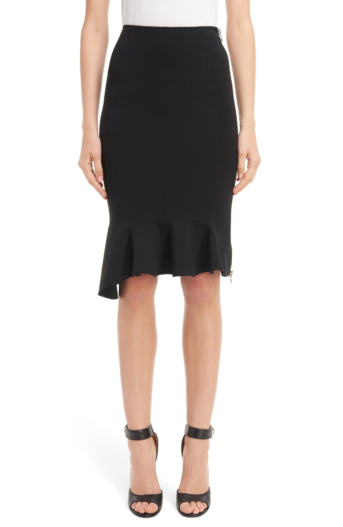 GIVENCHY Side Zip Crepe Jersey Skirt