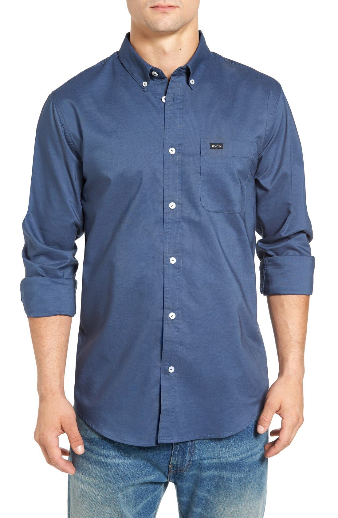 Alternate Image 1 Selected - RVCA 'That'll Do' Slim Fit Oxford Shirt