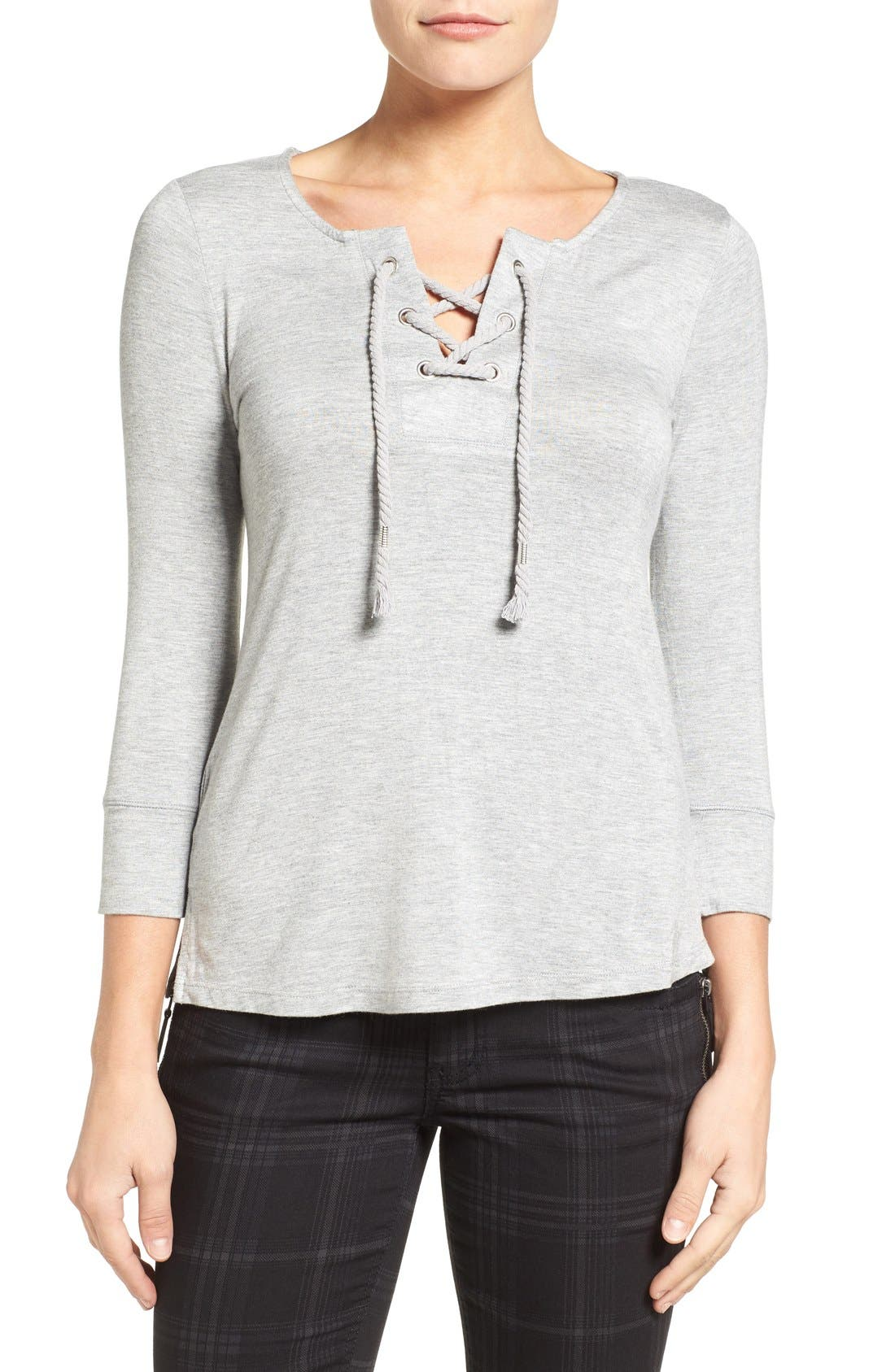 Wit & Wisdom Rope Lace-Up Top