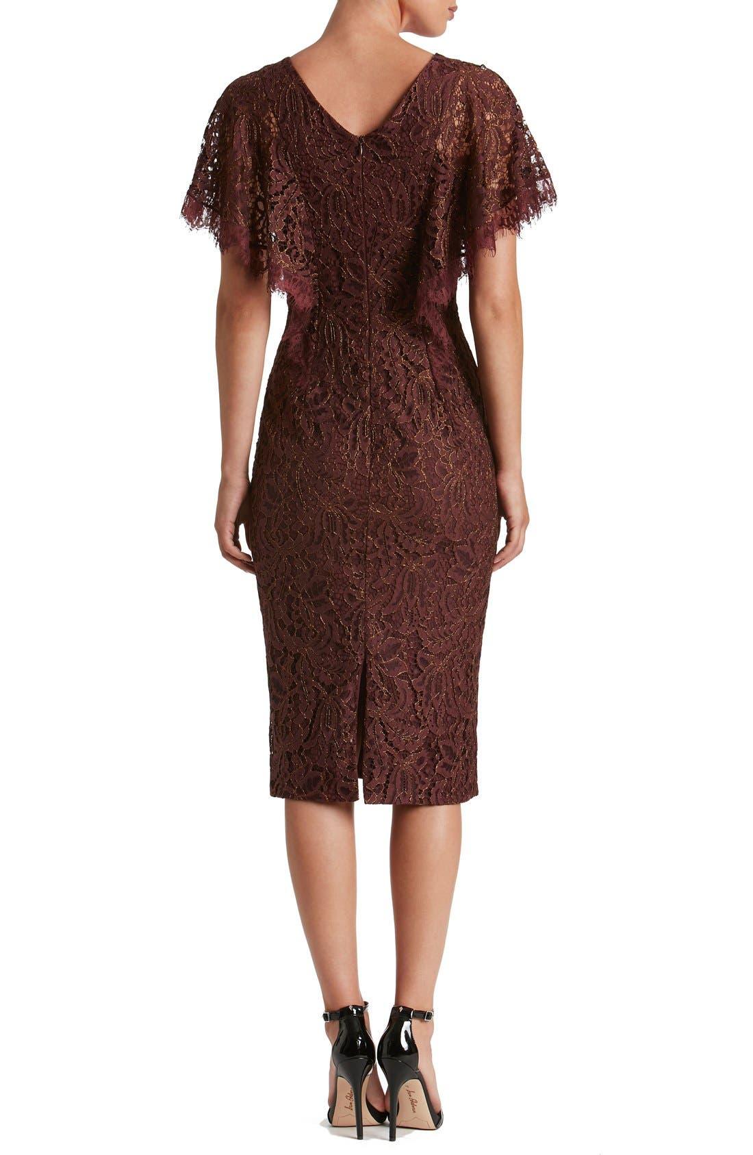 Alternate Image 2  - Dress the Population Lidia Lace Midi Dress
