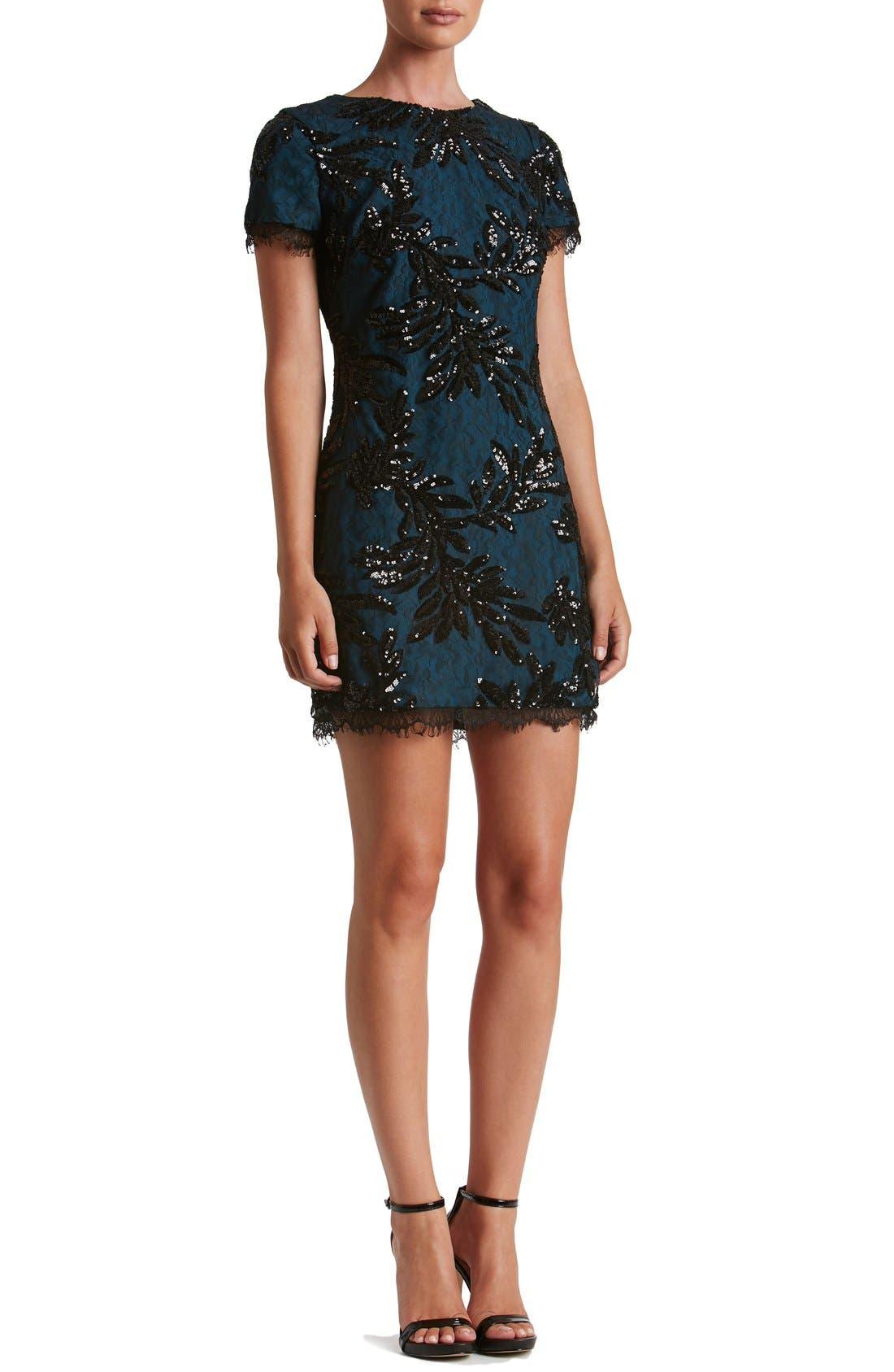 Alternate Image 4  - Dress the Population Valerie Sequin Lace Sheath Dress