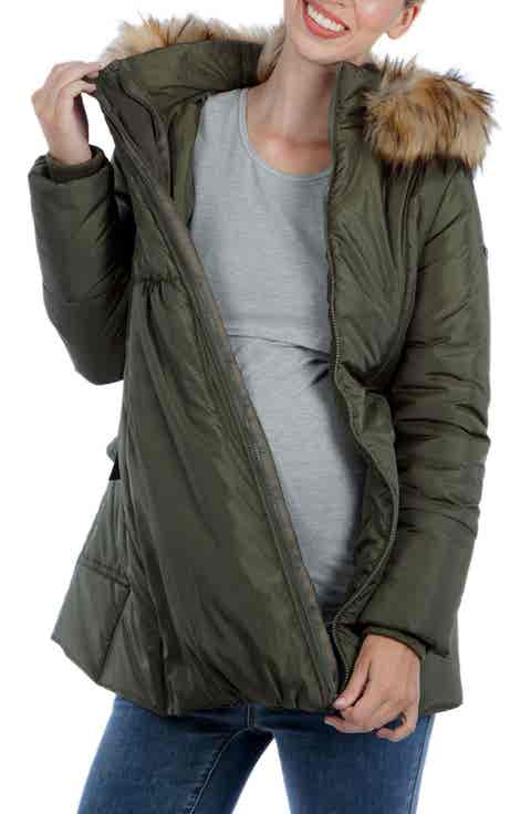 Modern Eternity Convertible Maternity Puffer Jacket with Faux Fur Trim