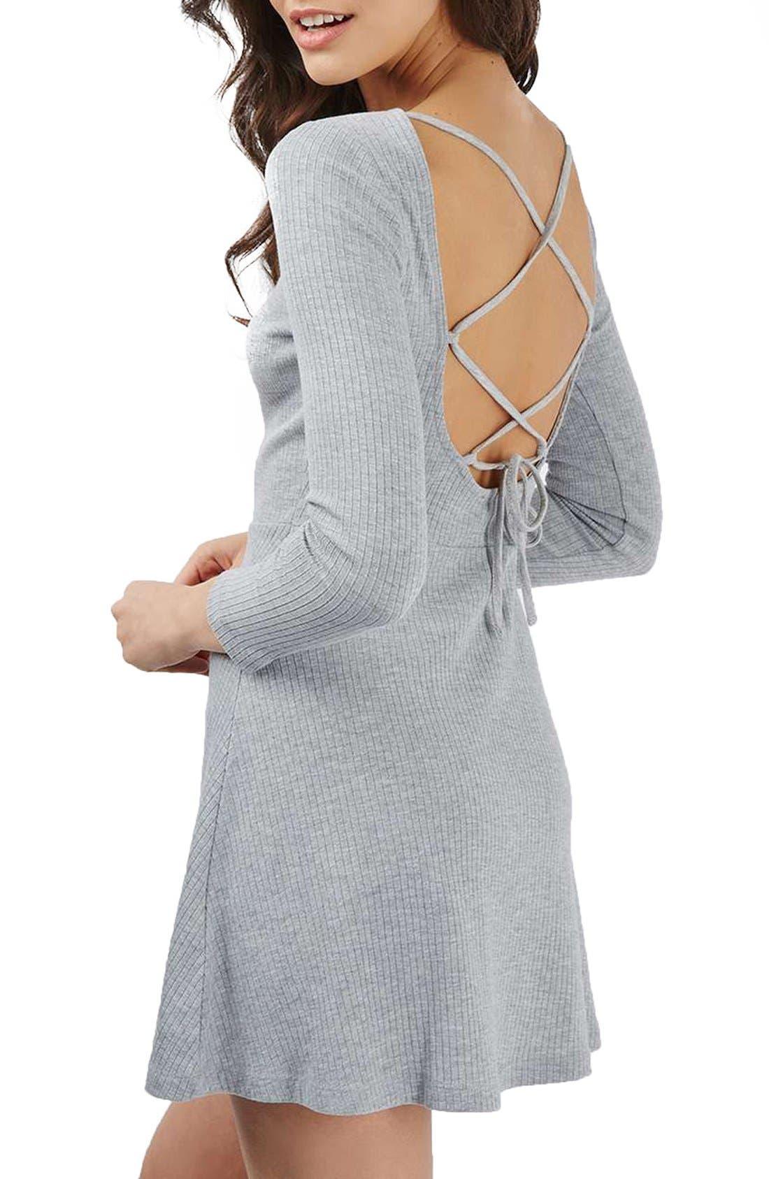 Alternate Image 3  - Topshop Lace-Up Back Skater Dress