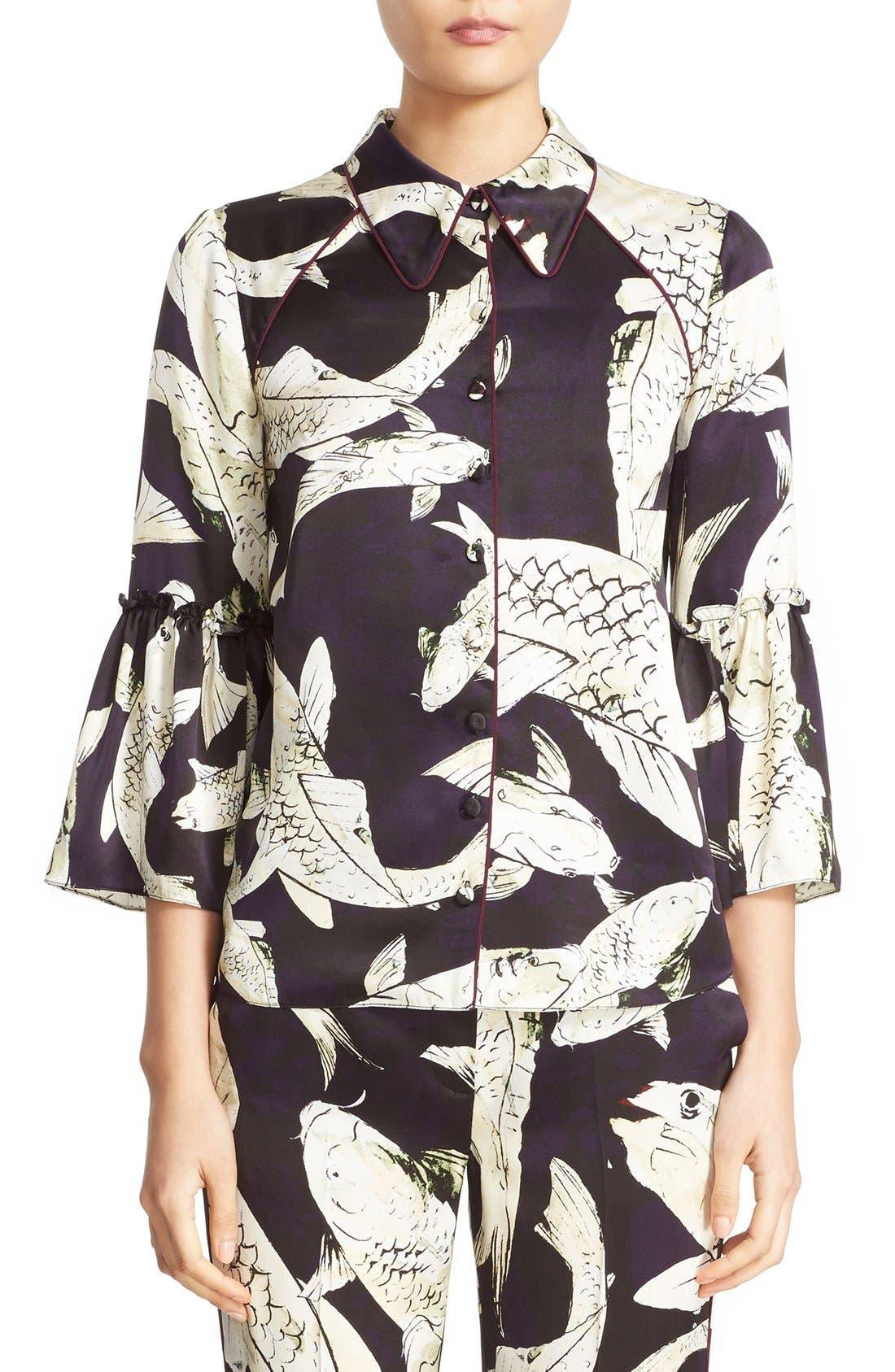 ERDEM Aran Koi Print Silk Pajama Top