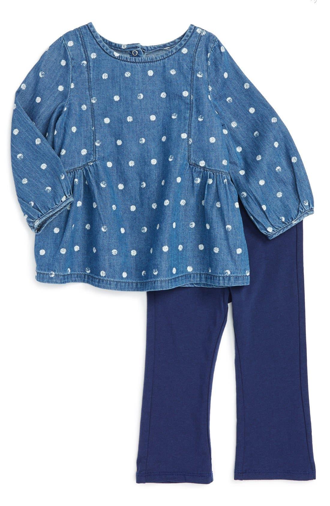 Splendid Dot Print Tunic & Leggings Set (Baby Girls)
