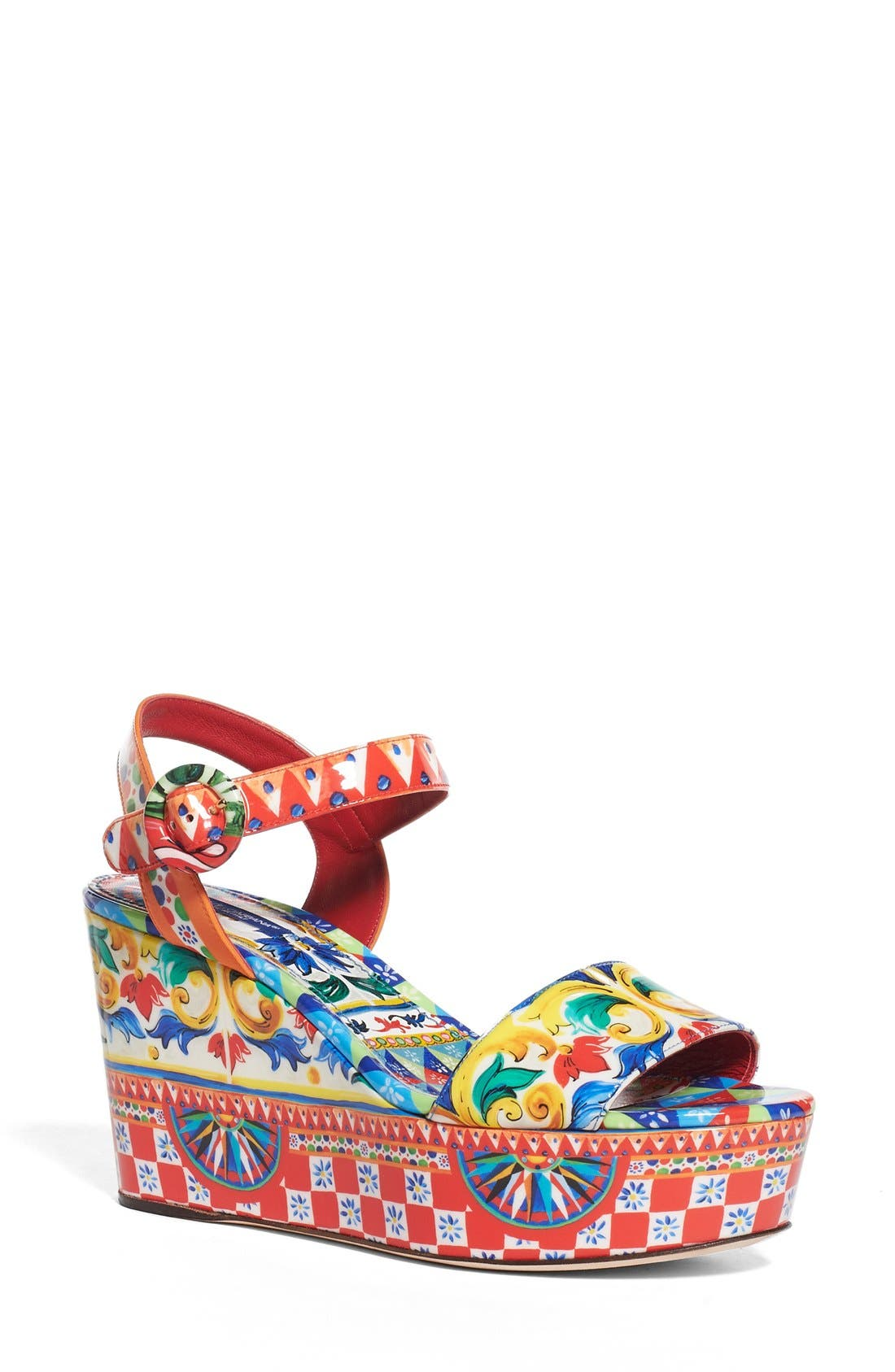 DOLCE&GABBANA Carretto Platform Wedge Sandal
