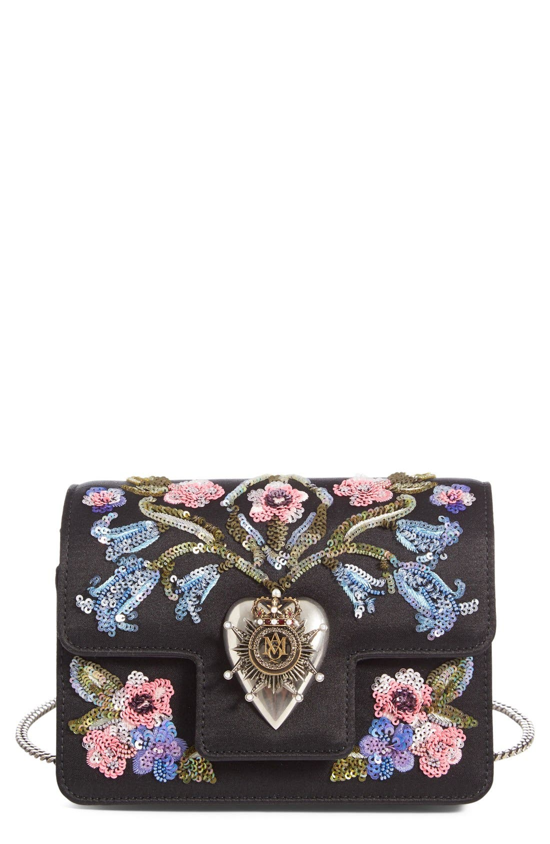 ALEXANDER MCQUEEN Mini Heart Embellished Calfskin Crossbody Bag