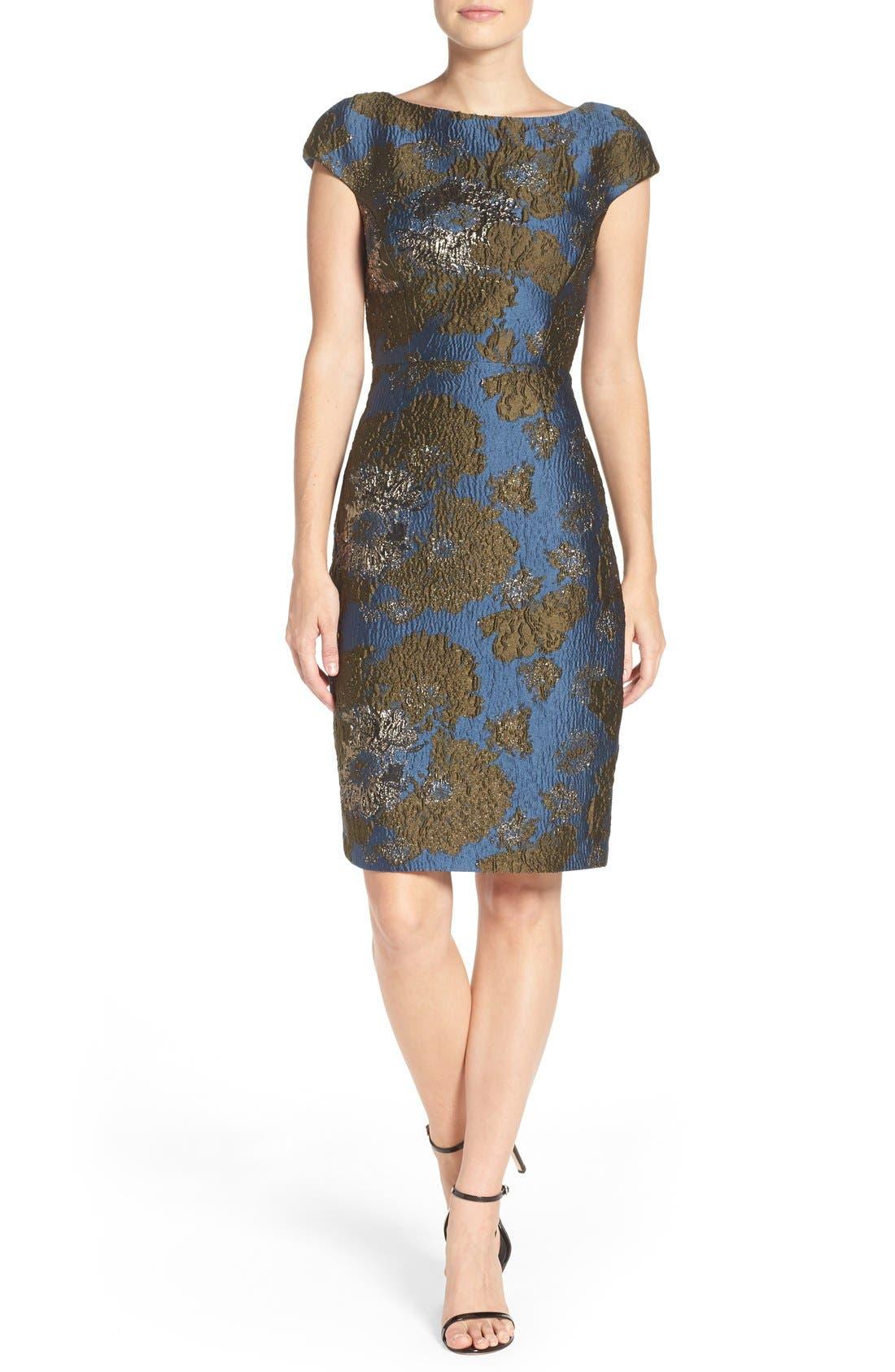 VERA WANG Metallic Jacquard Sheath Dress
