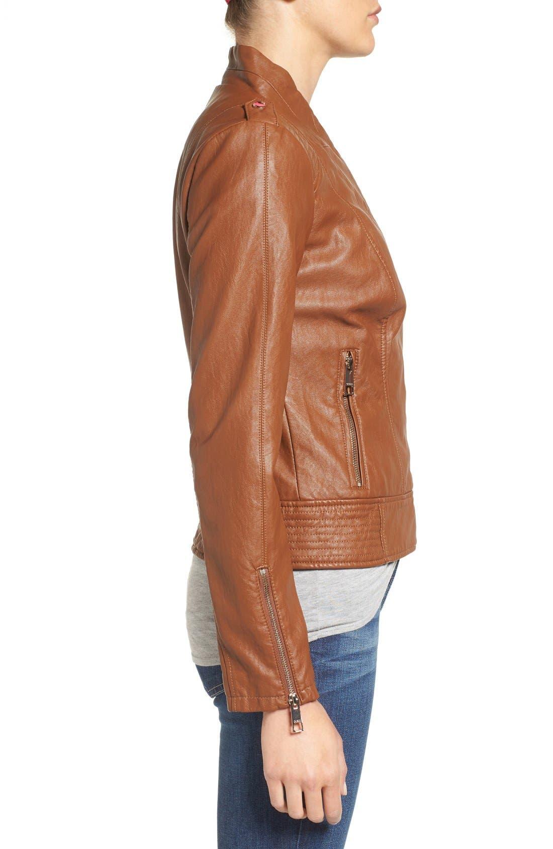 Alternate Image 3  - GUESS Faux Leather Moto Jacket (Regular & Petite)