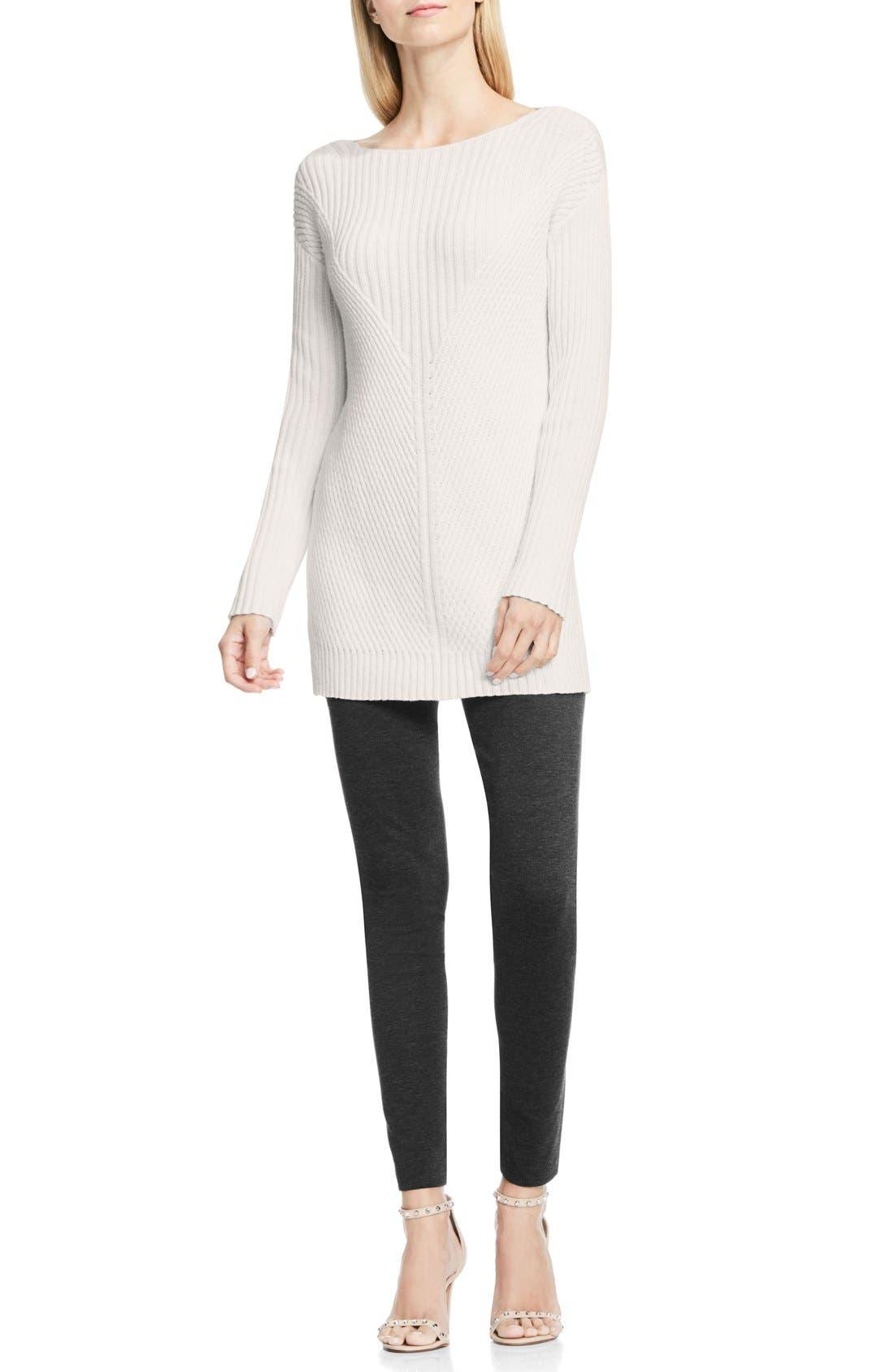 Alternate Image 2  - Vince Camuto Rib Knit Long Sweater (Petite)