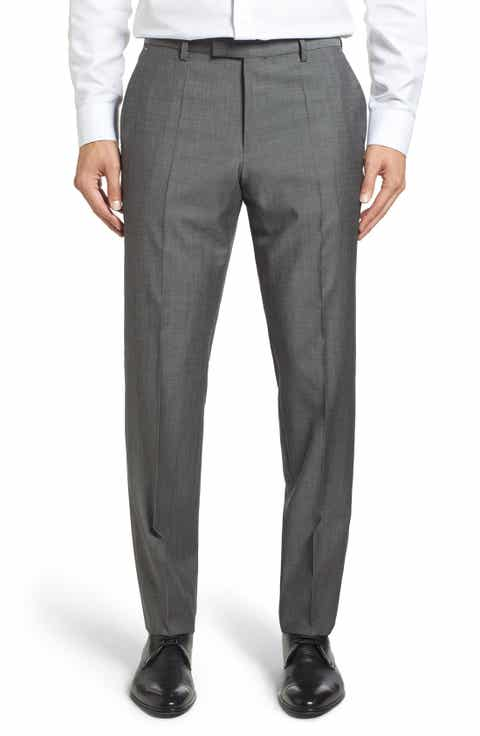 BOSS 'Leenon' Flat Front Solid Wool Trousers