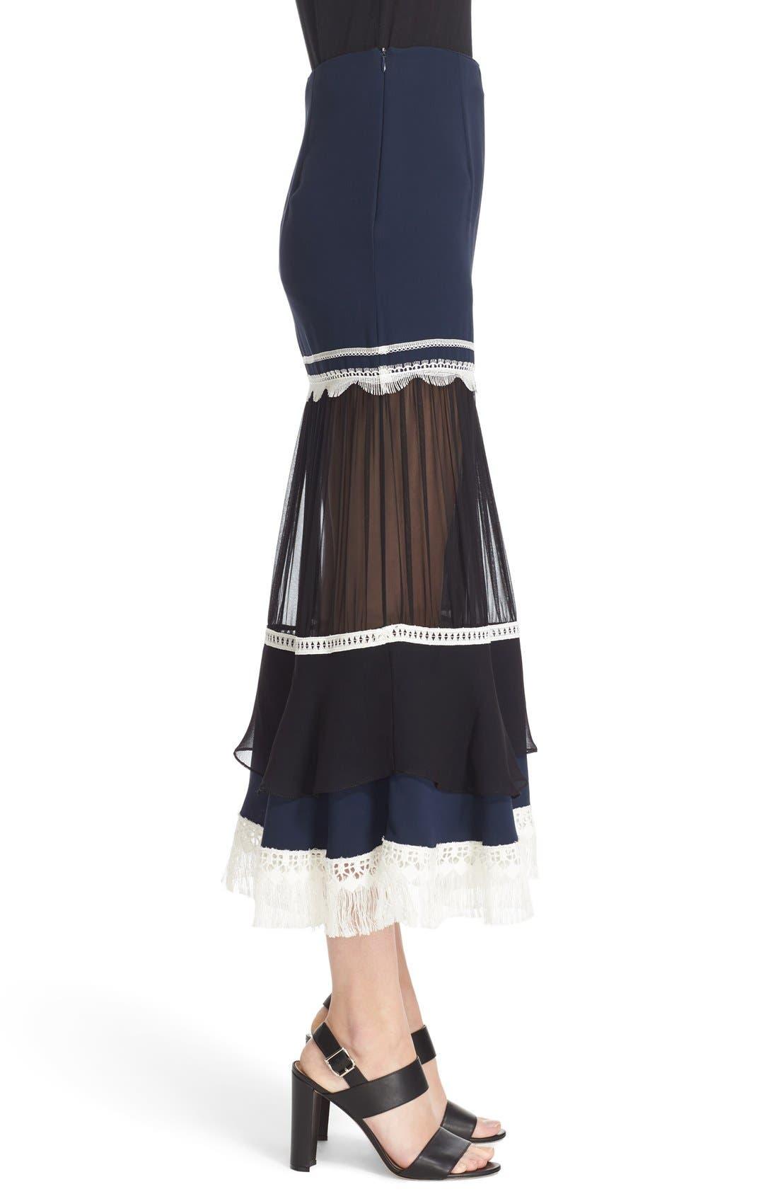 Alternate Image 3  - Jonathan Simkhai Fringe Silk Trumpet Skirt