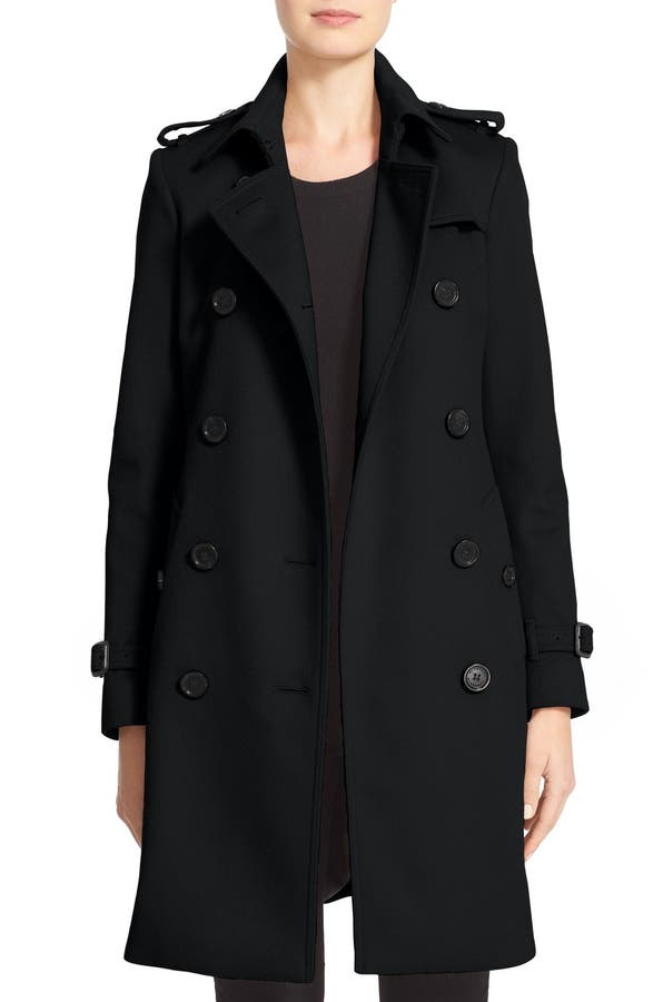 Burberry Kensington Double Breasted Wool & Cashmere Trench Coat ...