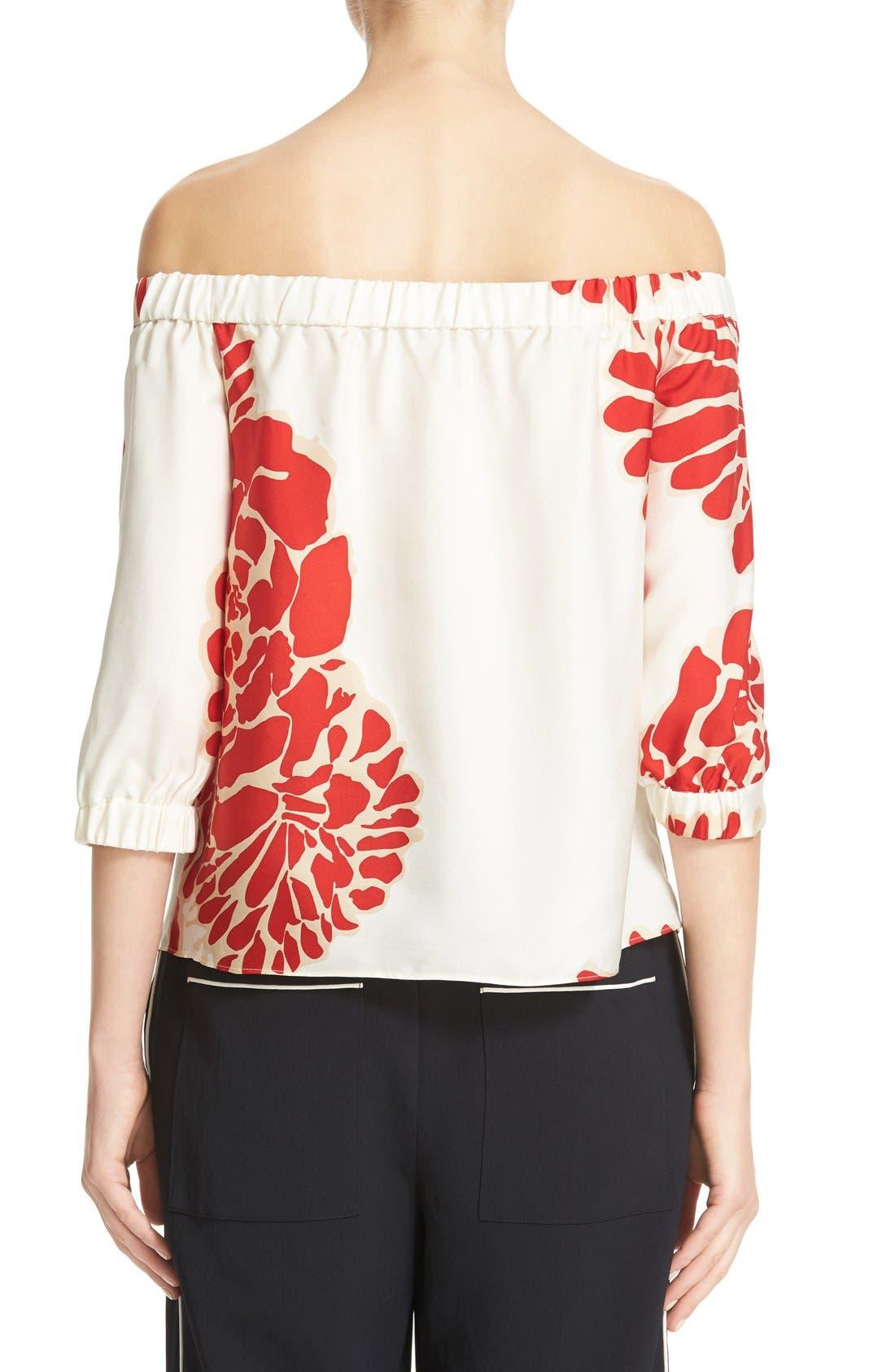 Alternate Image 3  - Tibi Orla Bloom Silk Off the Shoulder Top