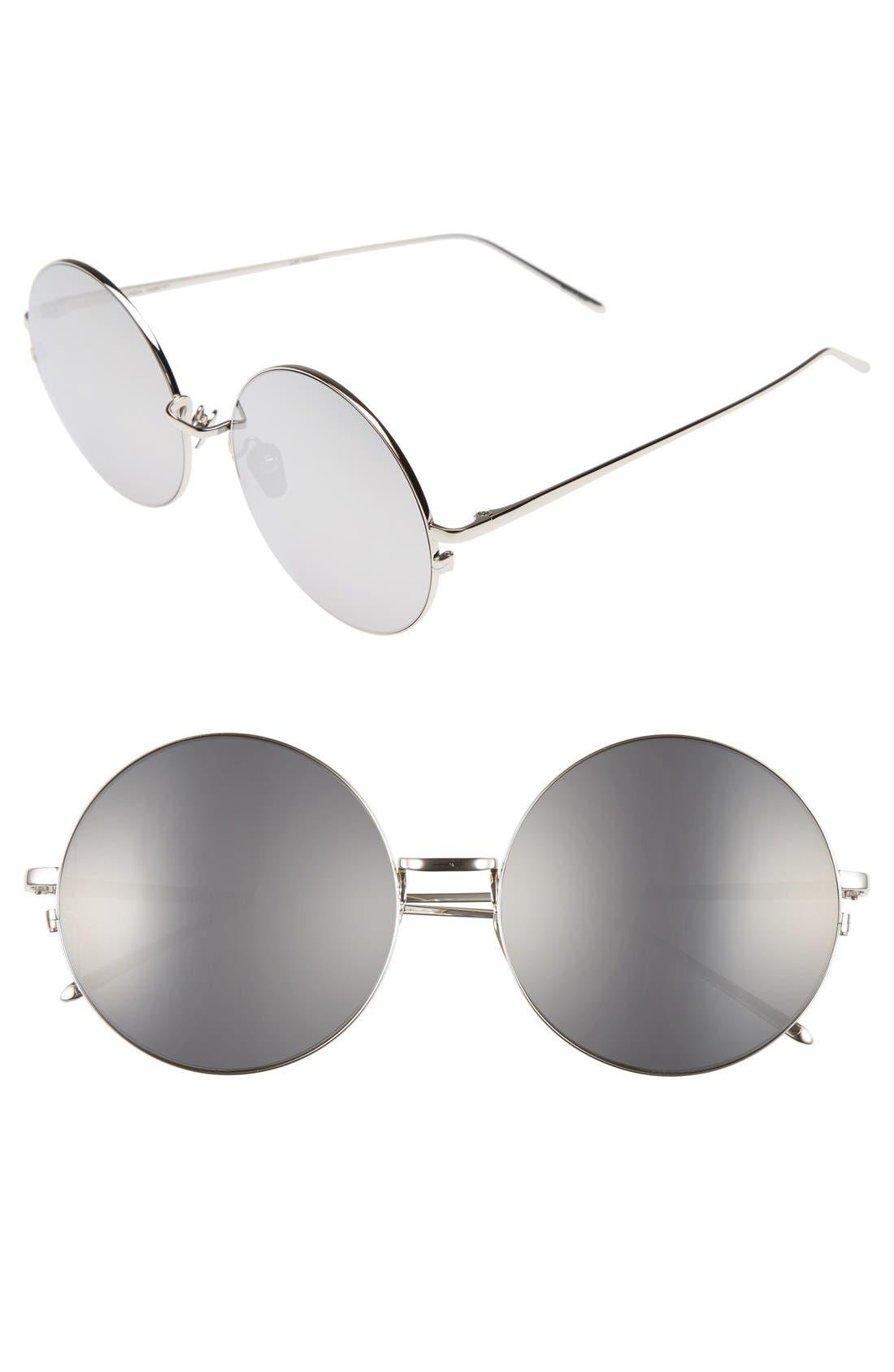 Linda Farrow 58mm Round 18 Karat White Gold Trim Sunglasses
