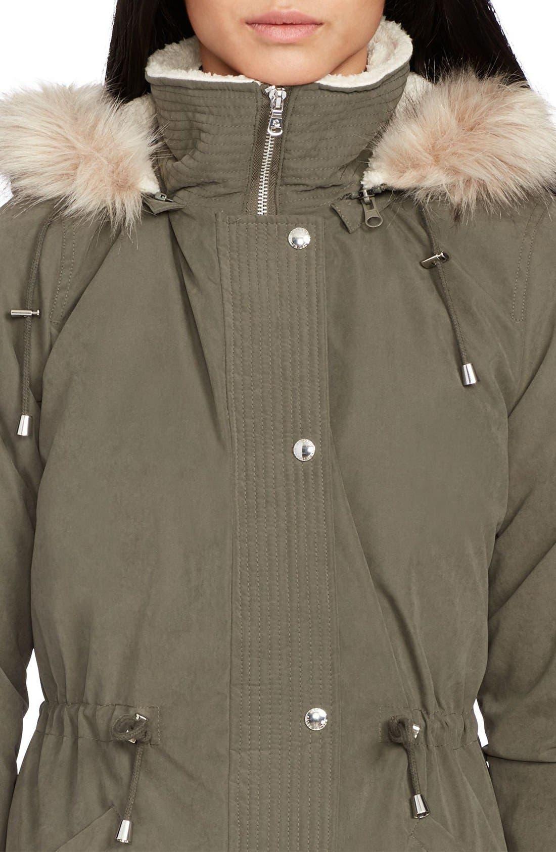 Alternate Image 3  - Lauren Ralph Lauren Faux Fur & Faux Shearling Trim Hooded Down Anorak