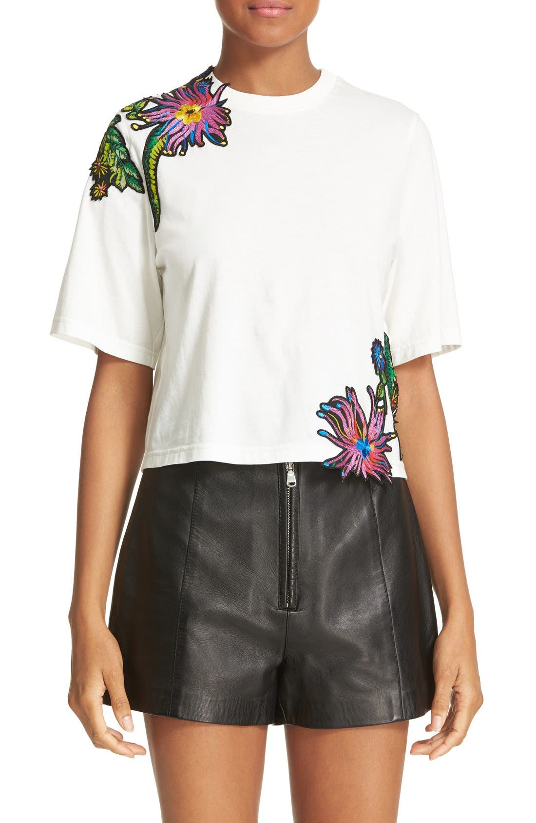 Main Image - 3.1 Phillip Lim Embroidered Floral Patch Tee