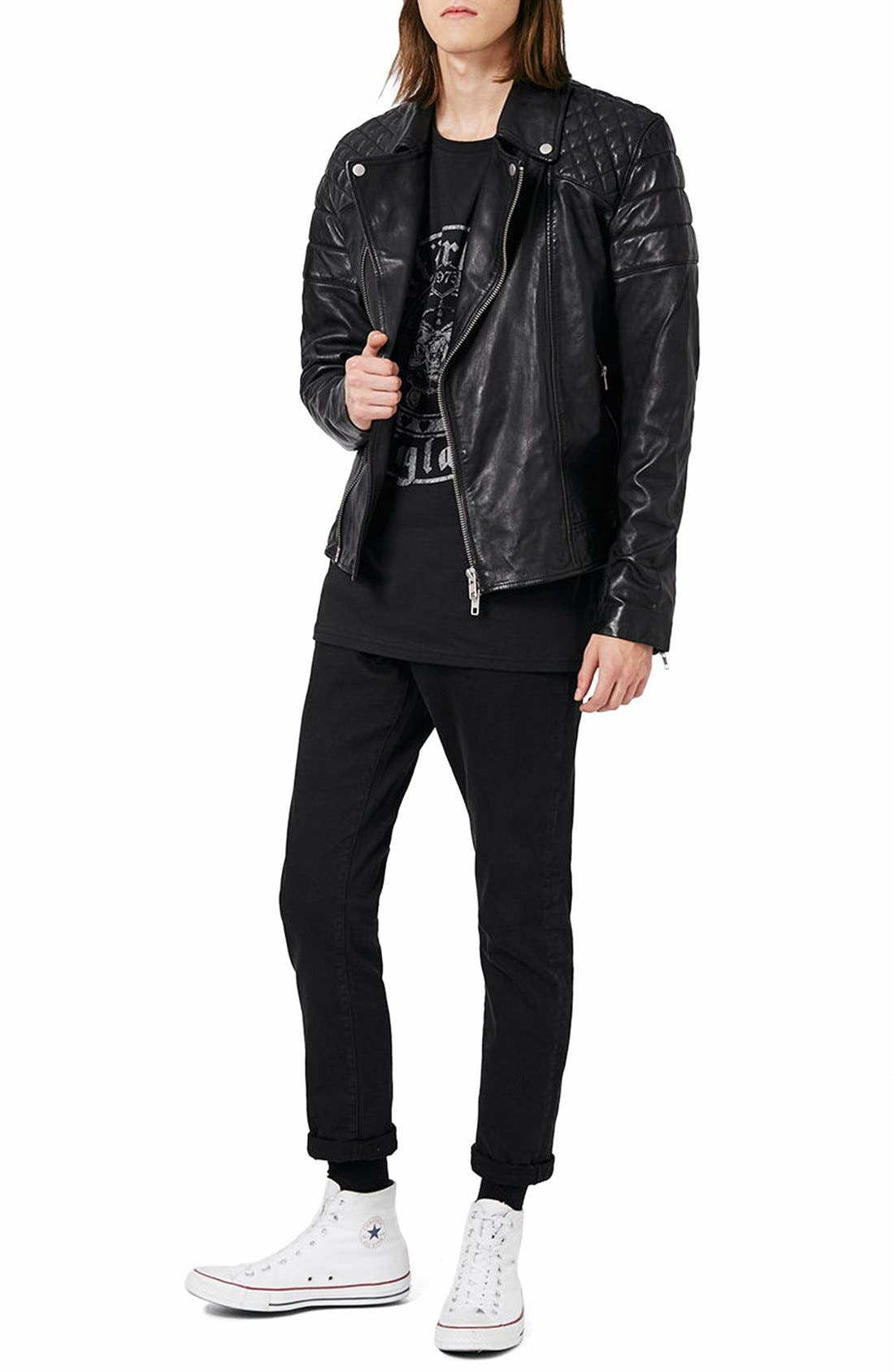 Alternate Image 2  - Topman Quilted Leather Biker Jacket