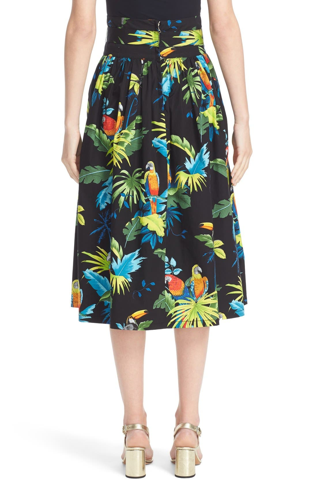 Alternate Image 2  - MARC JACOBS Parrot Print Cotton Poplin Full Skirt