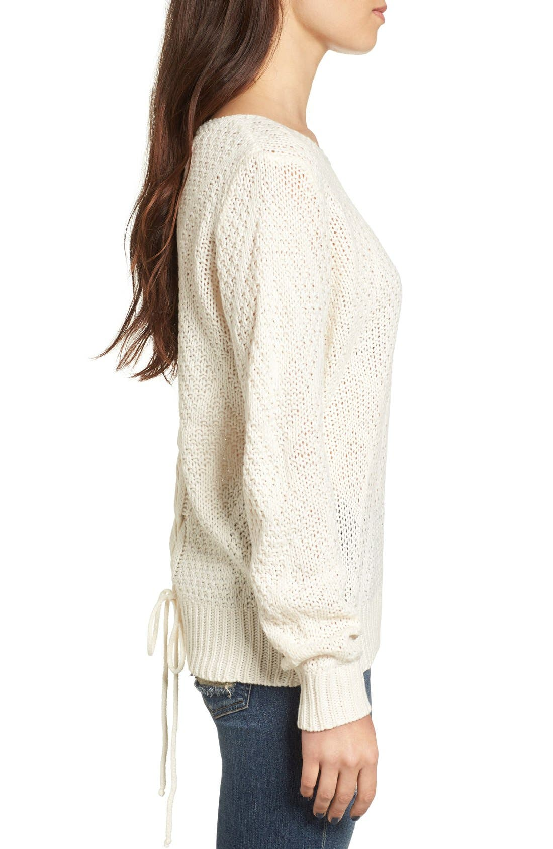 Alternate Image 3  - Woven Heart Lace-Up Knit Pullover