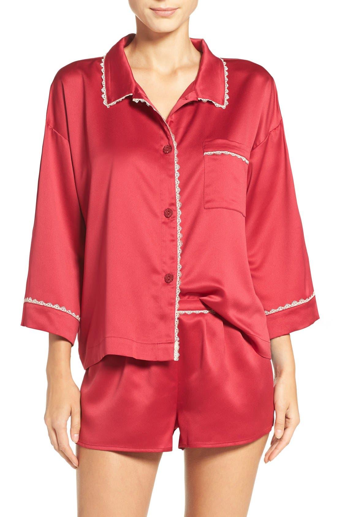 Alternate Image 1 Selected - Flora Nikrooz Wisteria Satin Pajamas
