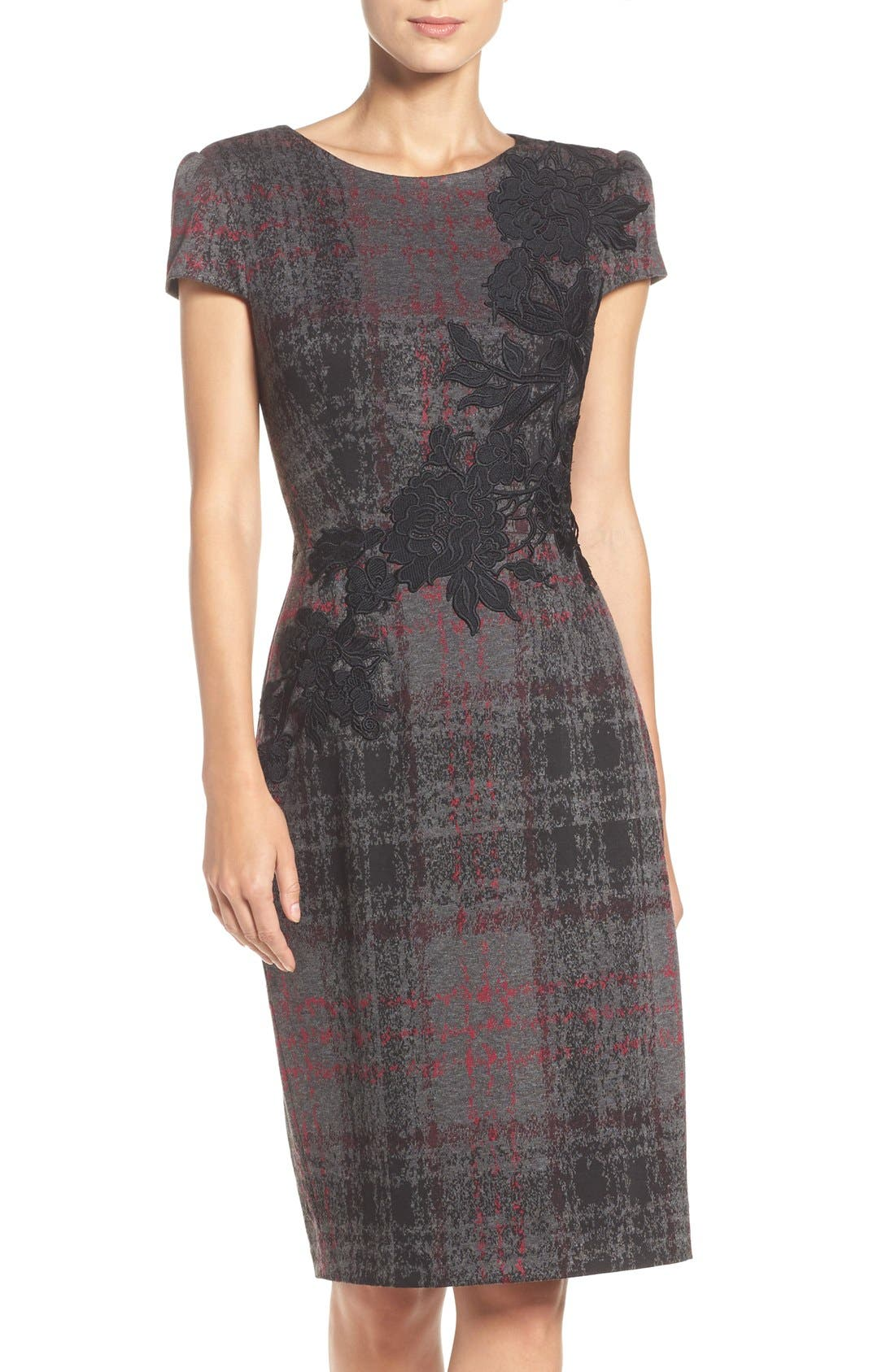 Main Image - Betsey Johnson Embroidered Knit Sheath Dress