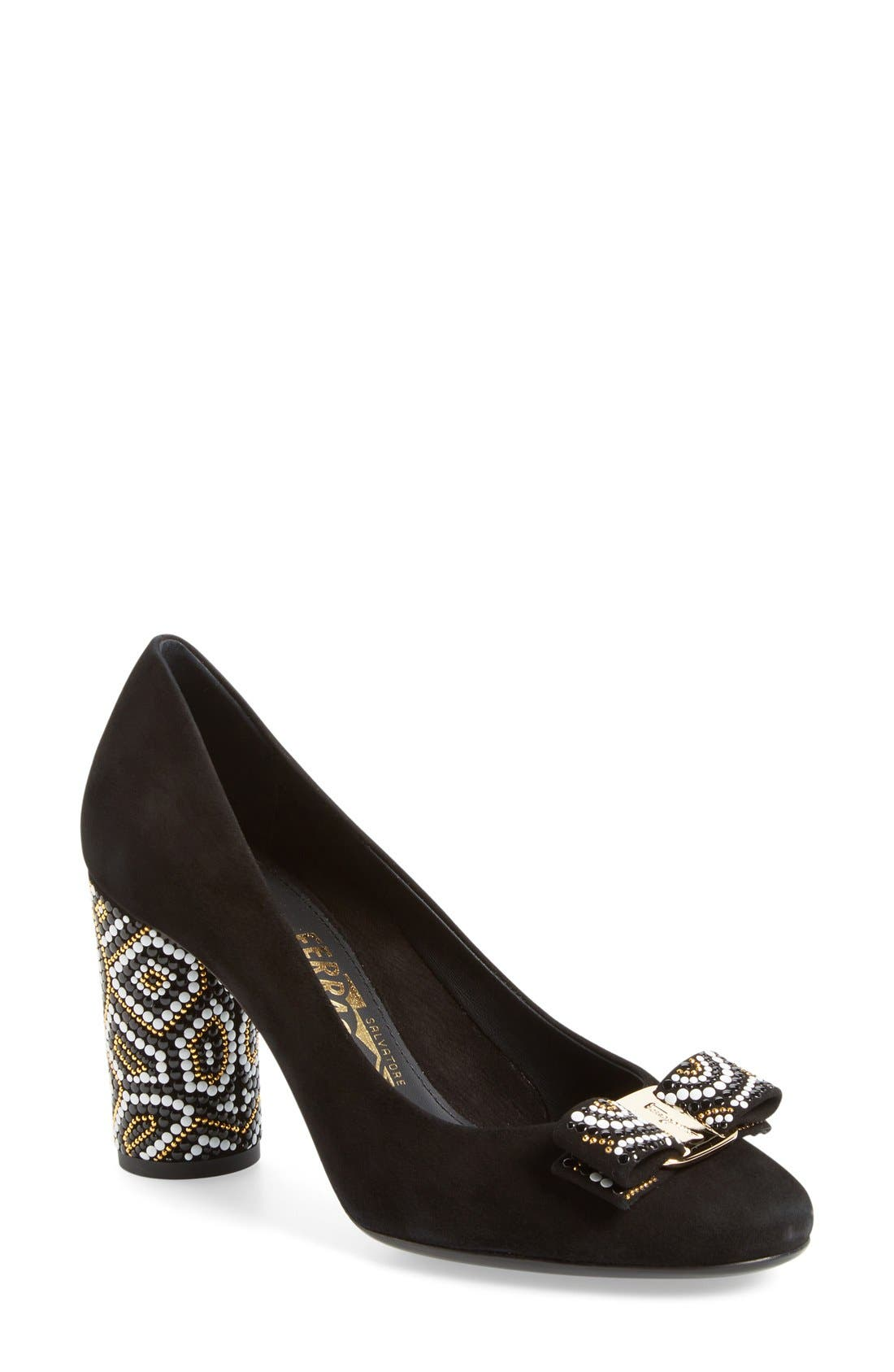 Salvatore Ferragamo Beaded Heel Bow Pump (Women)