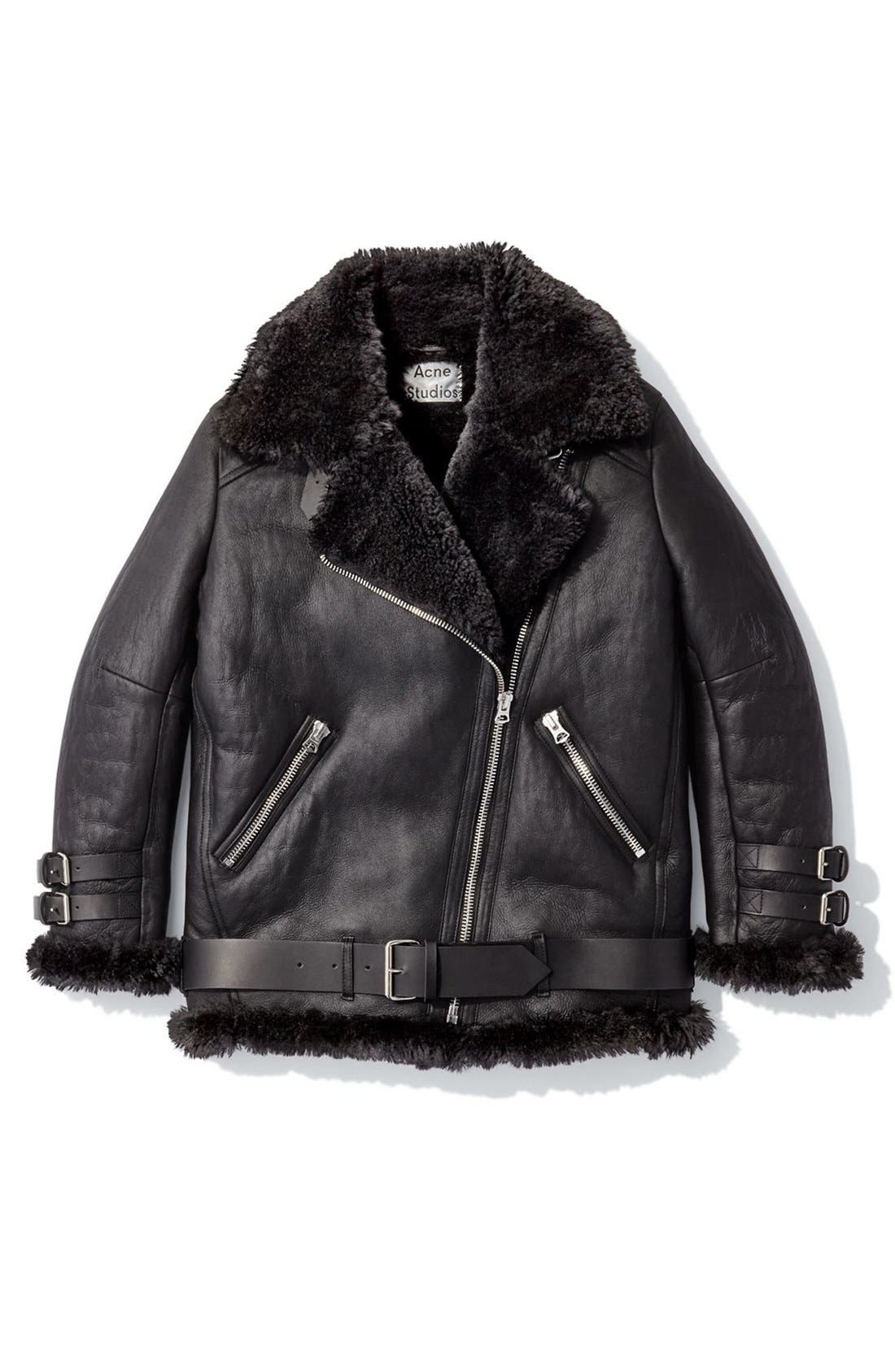 Alternate Image 4  - ACNE Studios Velocite Oversized Genuine Shearling Moto Jacket