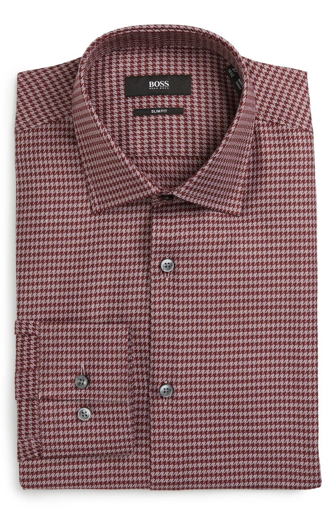Main Image - BOSS Slim Fit Houndstooth Dress Shirt