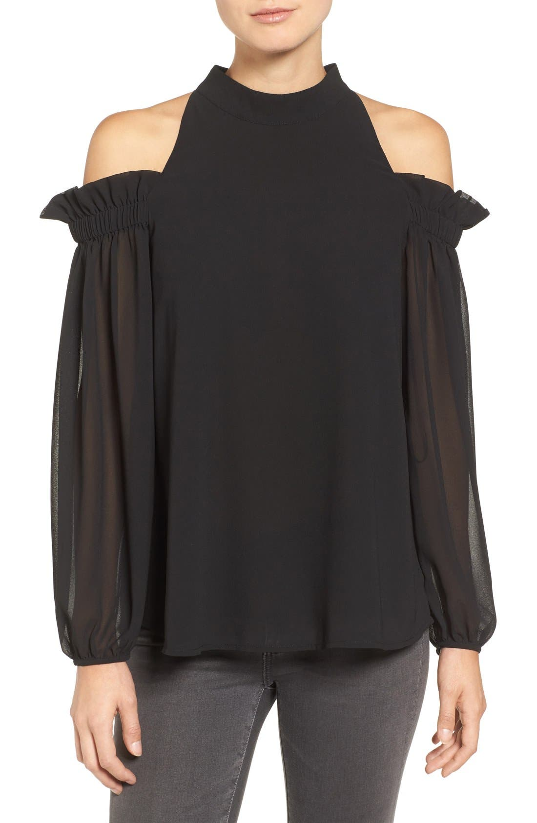 Trouvé Ruffle Cold Shoulder Top