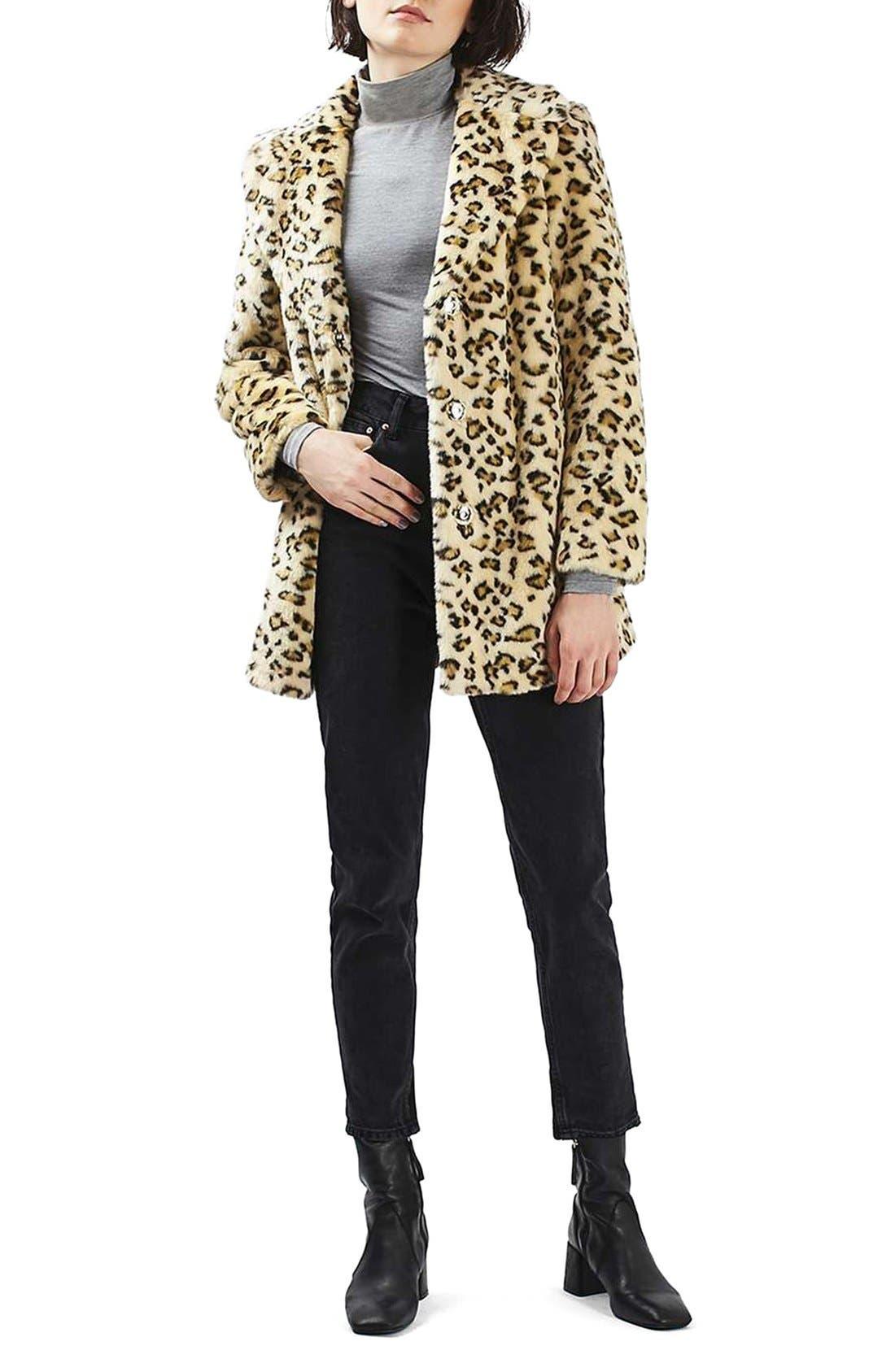 Alternate Image 3  - Topshop Leopard Faux Fur Coat