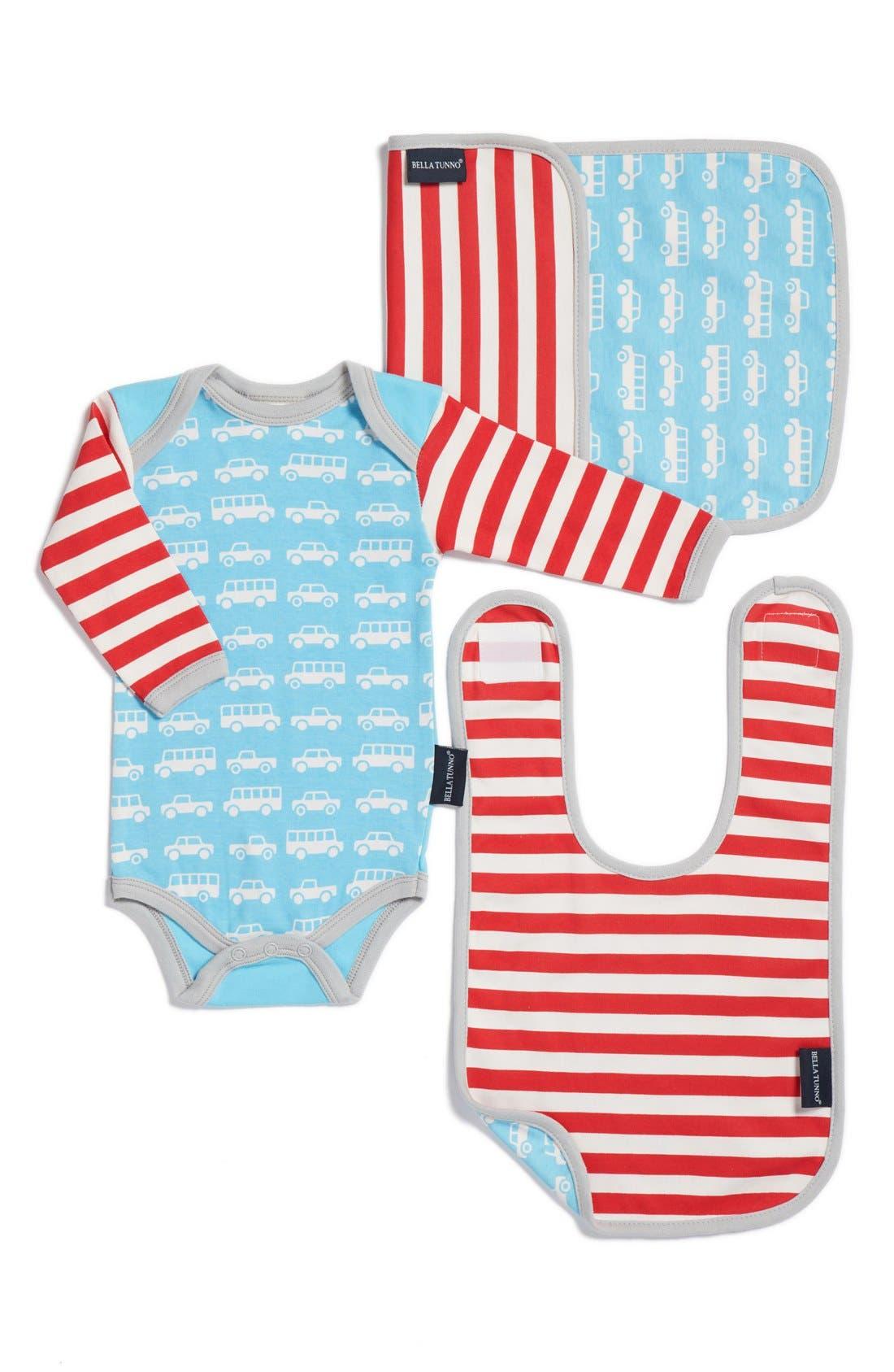 Bella Tunno Bodysuit, Bib & Burpie Cloth Set (Baby Boys)