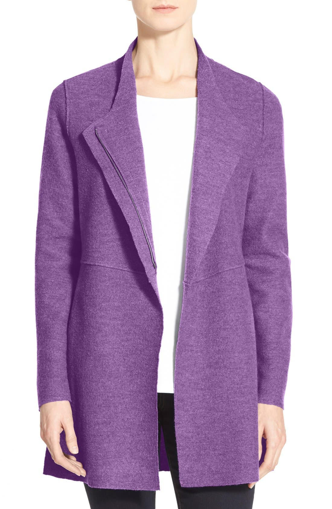 Alternate Image 1 Selected - Eileen Fisher Asymmetrical Boiled Merino Wool Jacket (Regular & Petite)