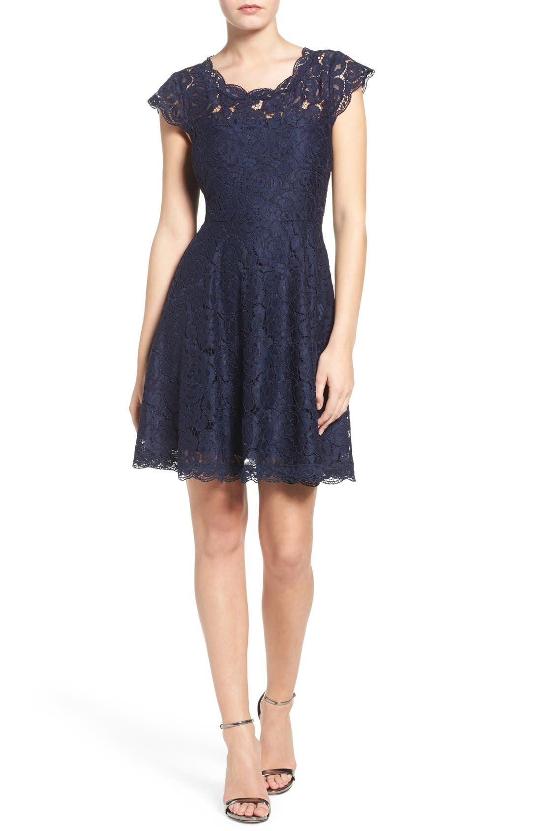 Alternate Image 4  - BB Dakota Lace Fit & Flare Dress